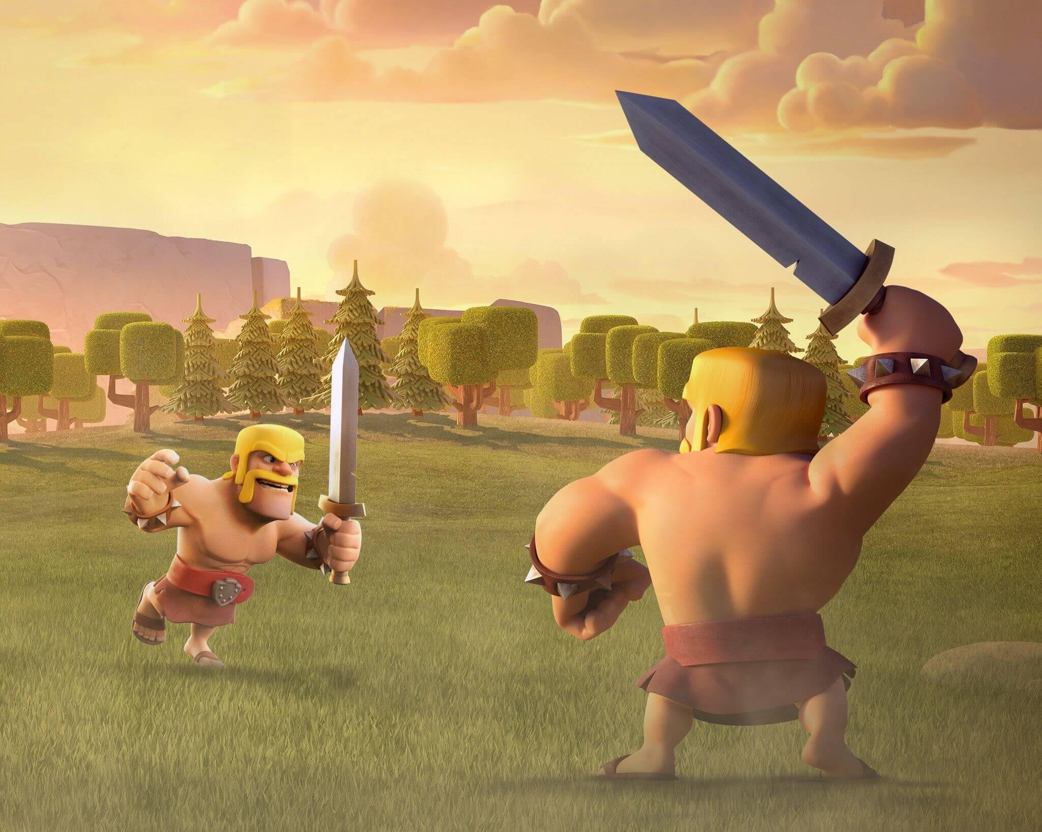 Clash of Clans Barbarian vs. Barbarian Wallpaper