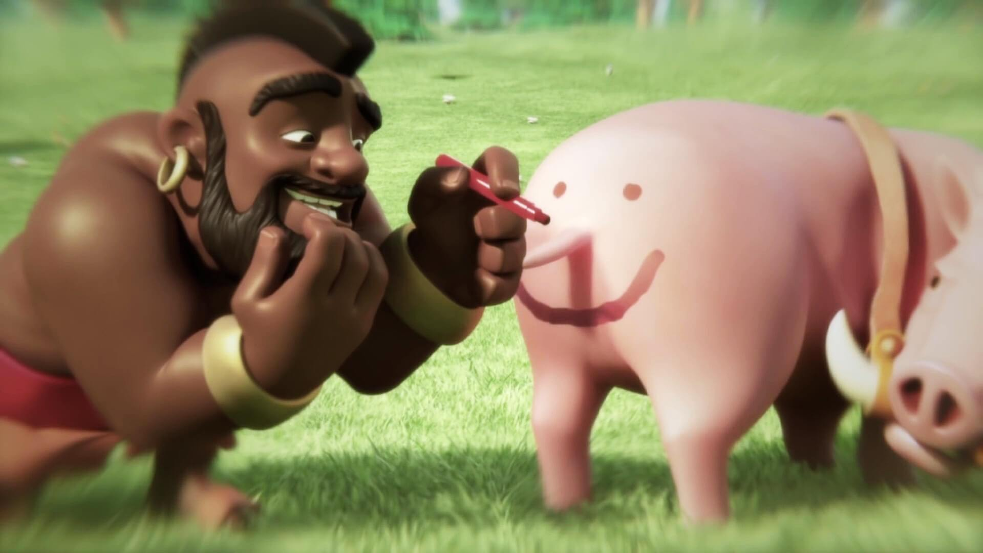 Clash of Clans Funny Pig and Hog Rider Wallpaper