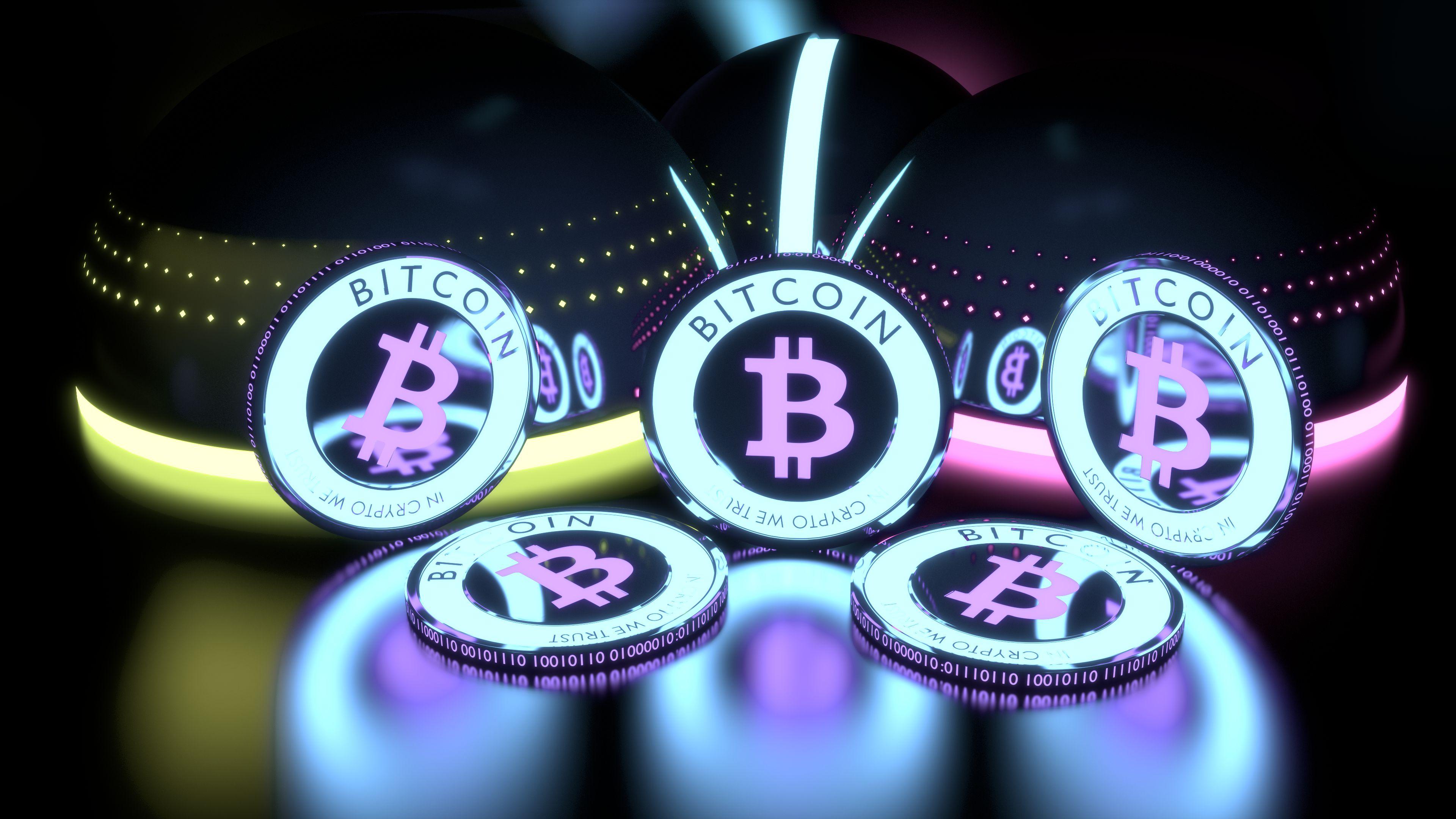 Colourful 4K Bitcoin Wallpaper