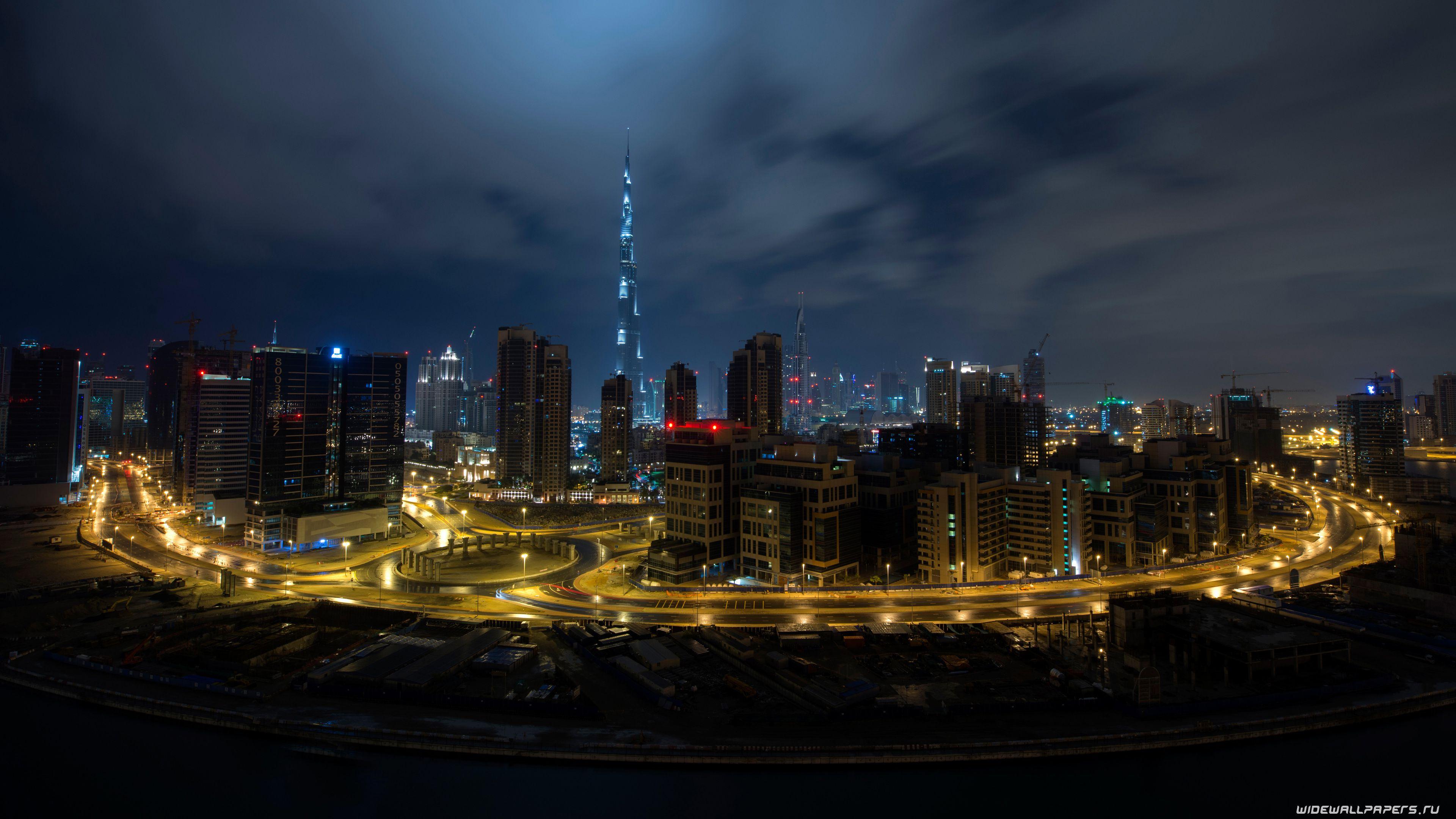 Dubai Gold Night Lights Wallpaper