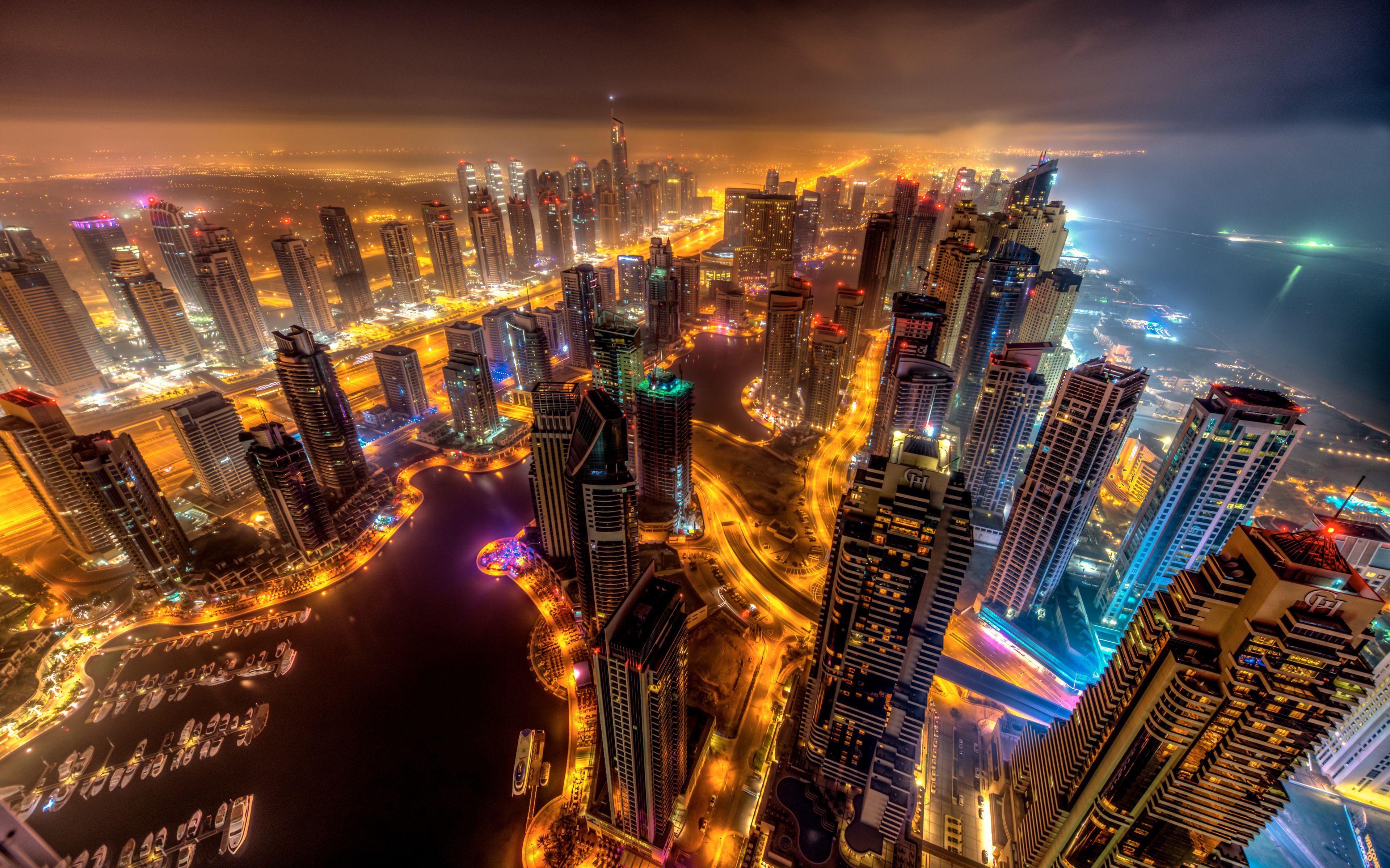 Dubai Skyscraper Bird's Eye View Wallpaper