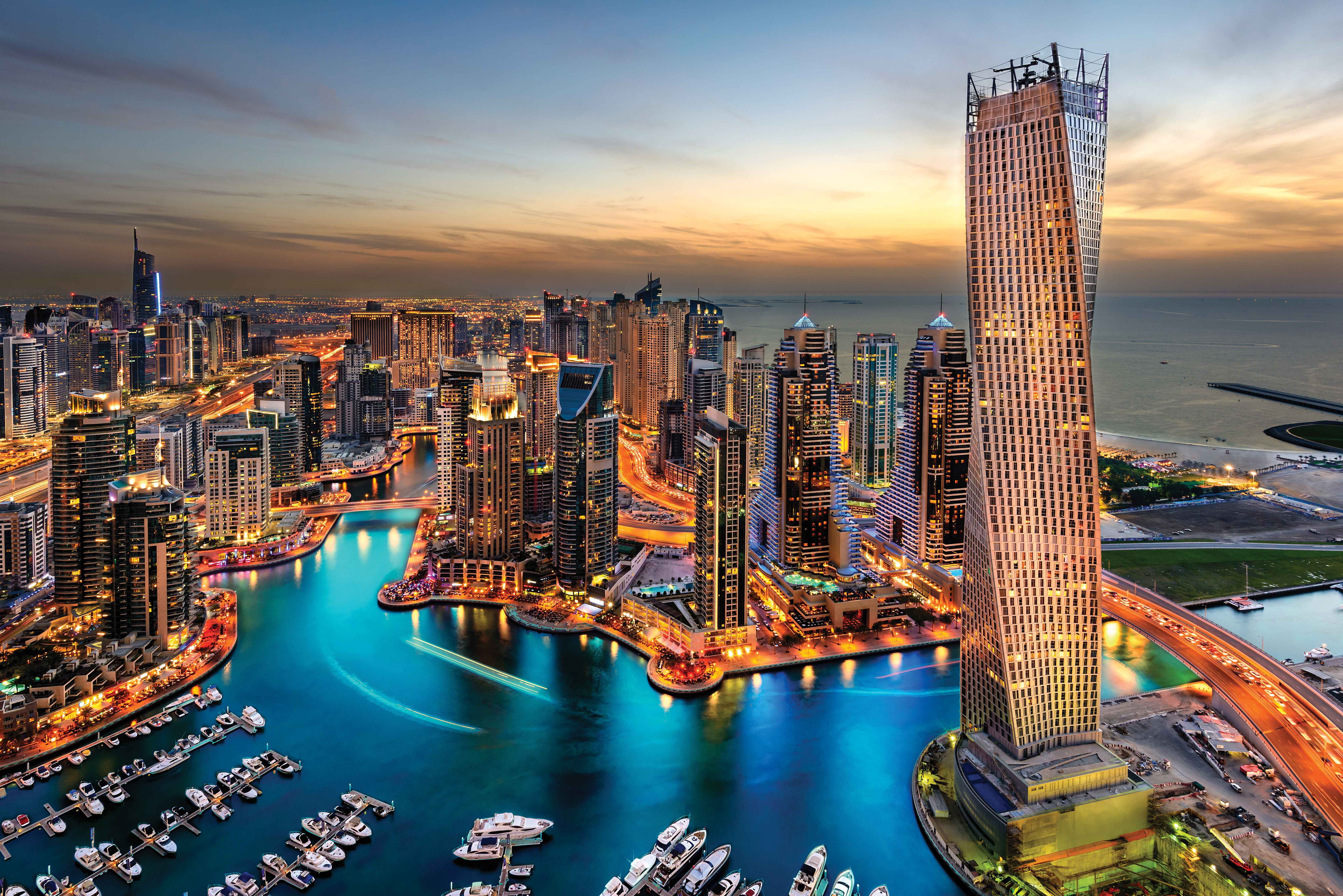 Dubai Skyscrapers Night 4K Ultra HD Wallpaper