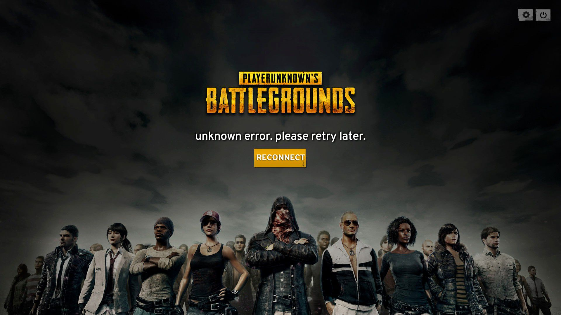 PUBG Unknown Error Please Retry Later Screen