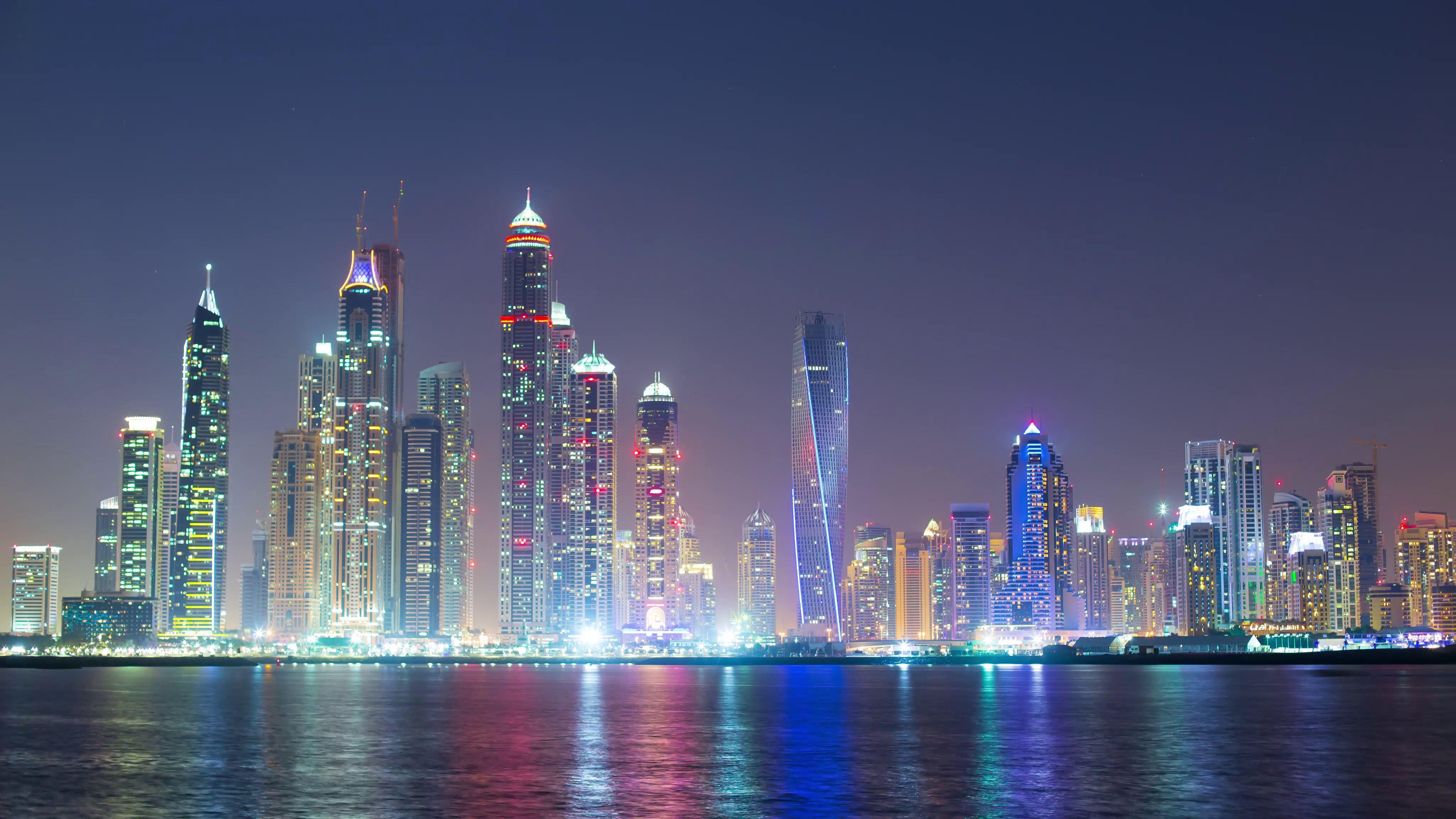 Panoramic Dubai Wallpaper 4K Colorful