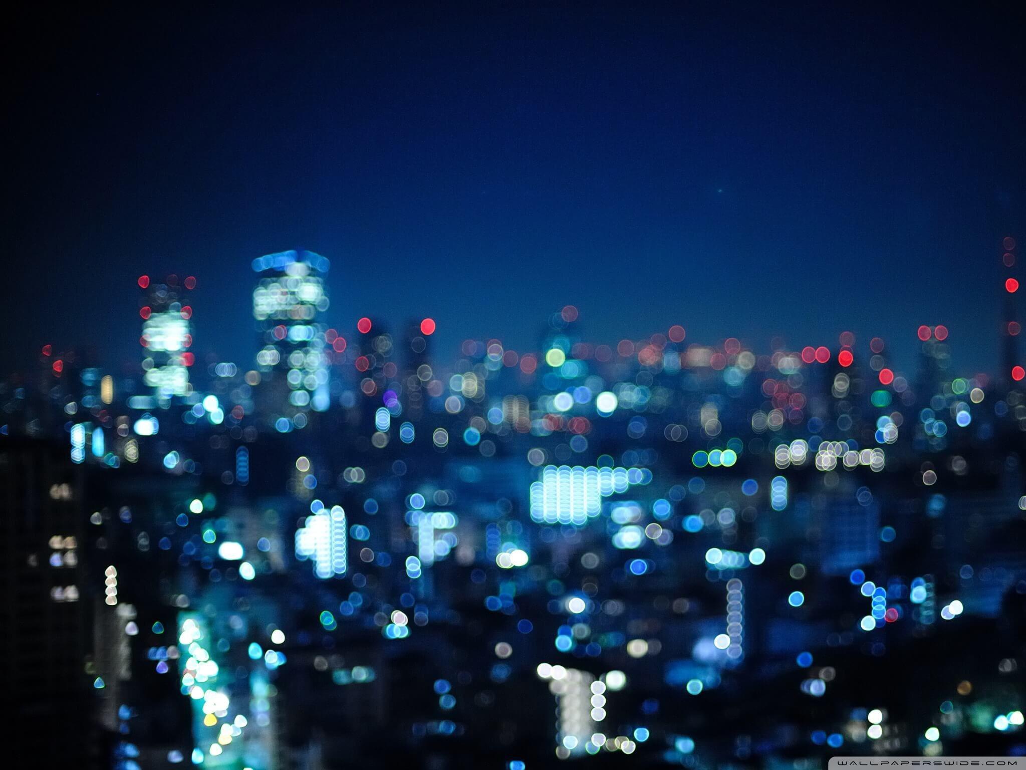 Bokeh Blue in The City HD Wallpaper