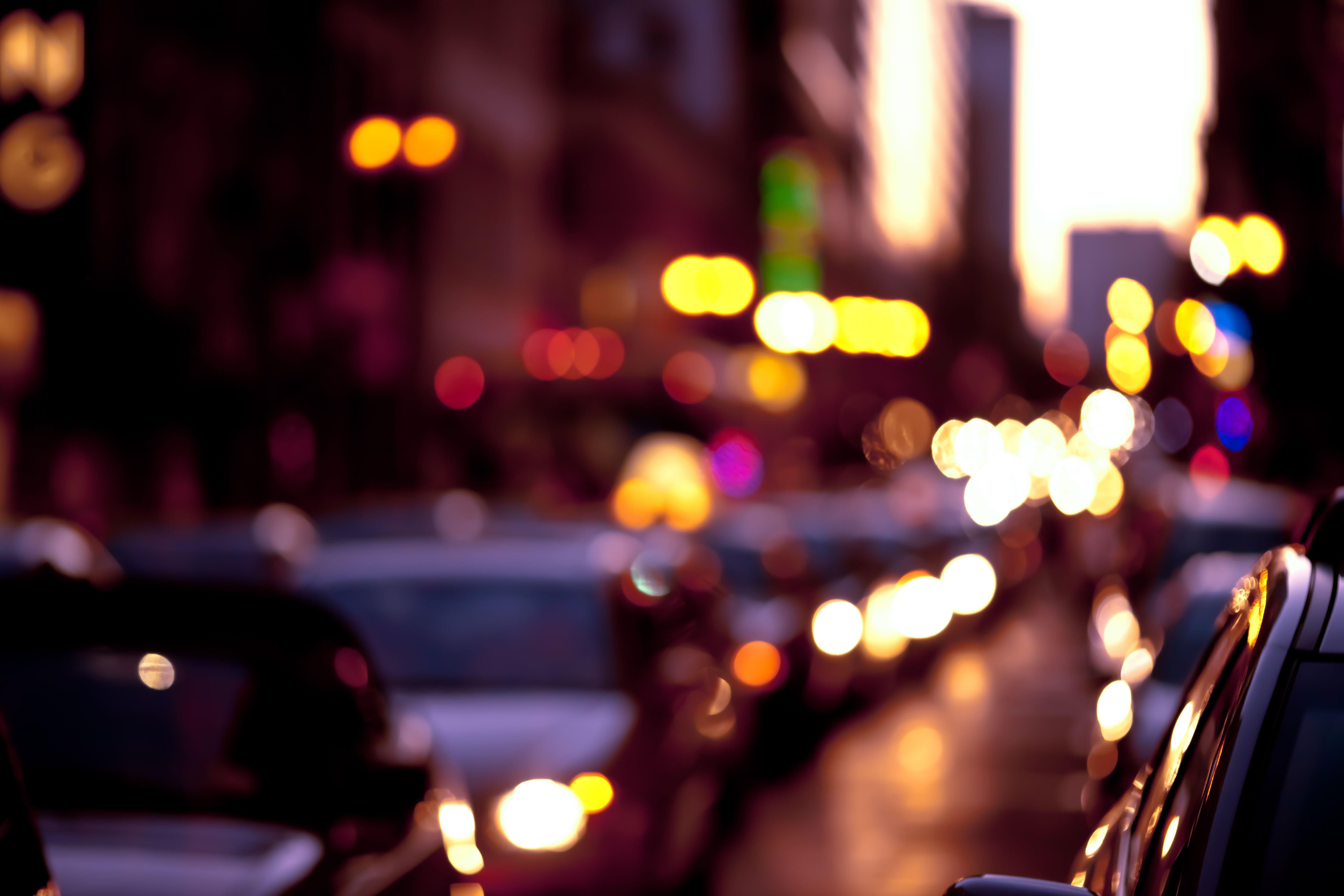 Bokeh Traffic in The City Full HD Wallpaper