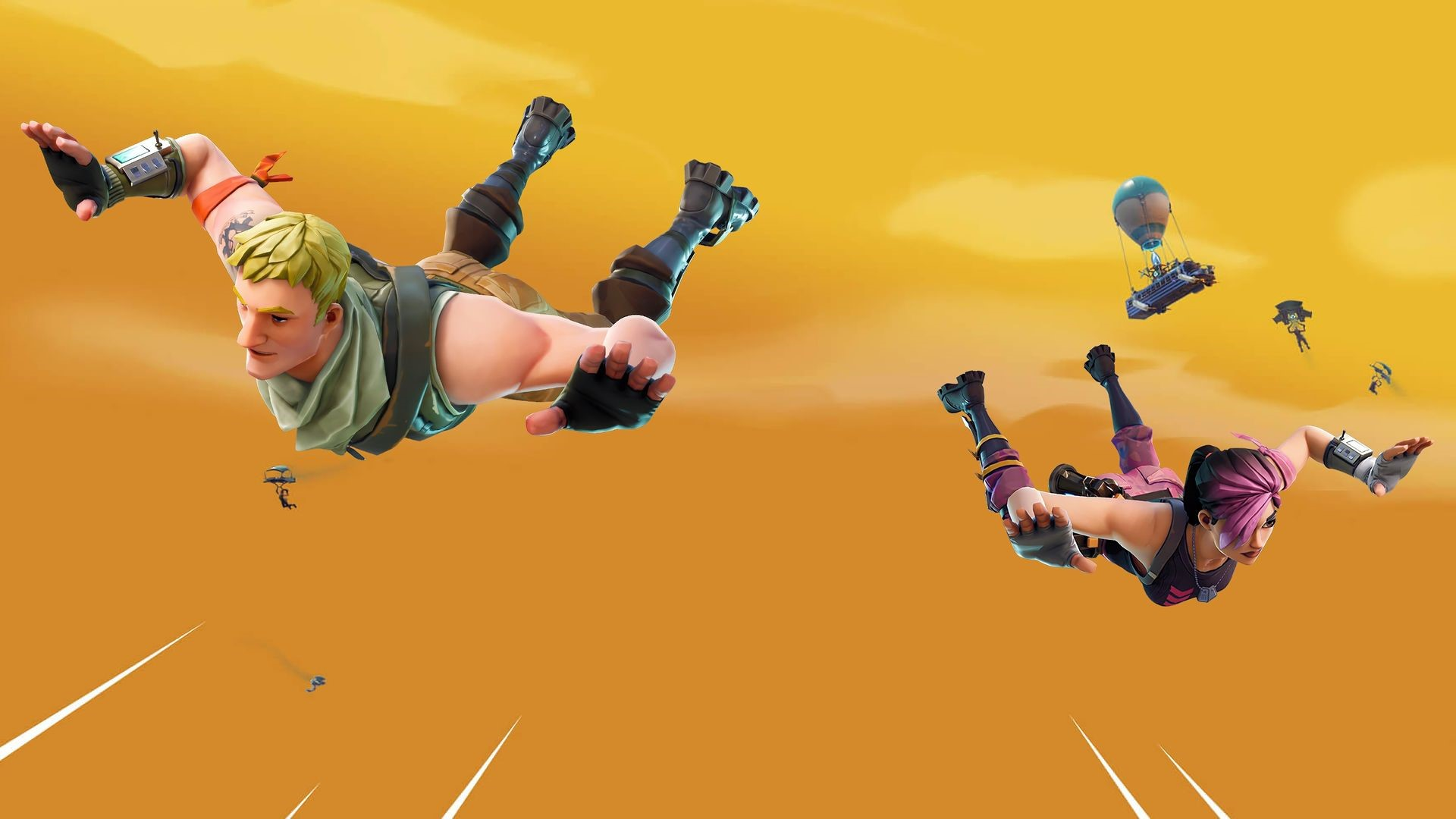 Fortnite Balloon Jump in Field 4K Wallpaper