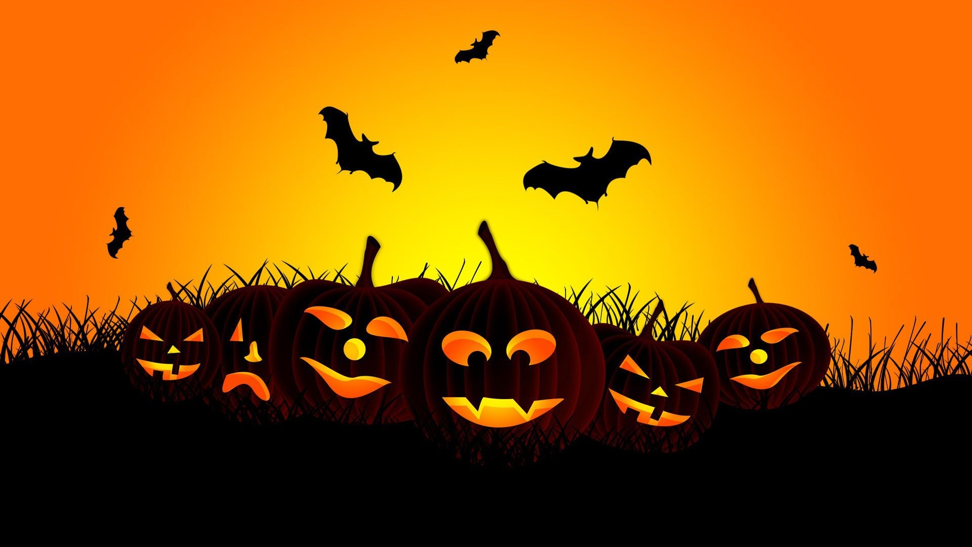 Halloween Cartoon Pumpkins HD Wallpaper