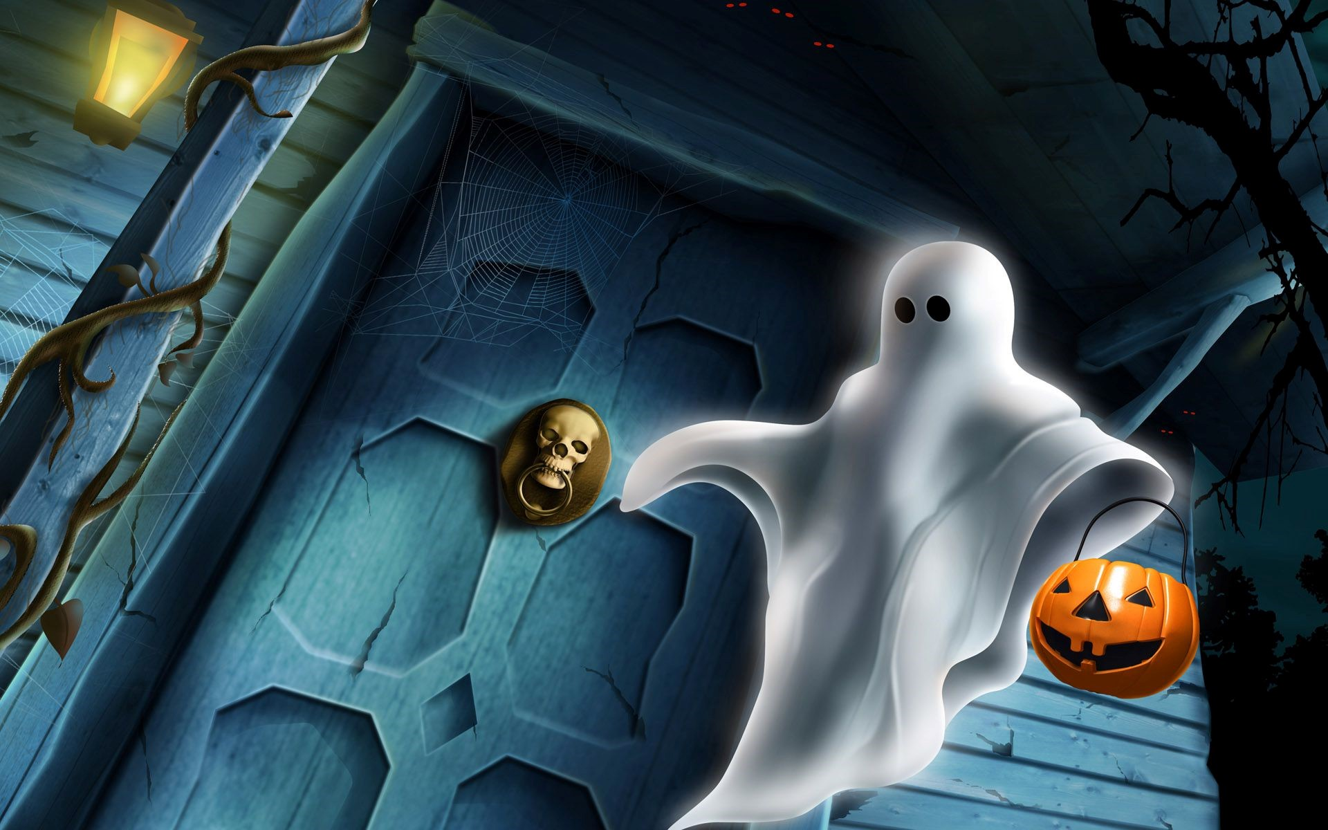 Halloween Ghost on The Door HD Wallpaper