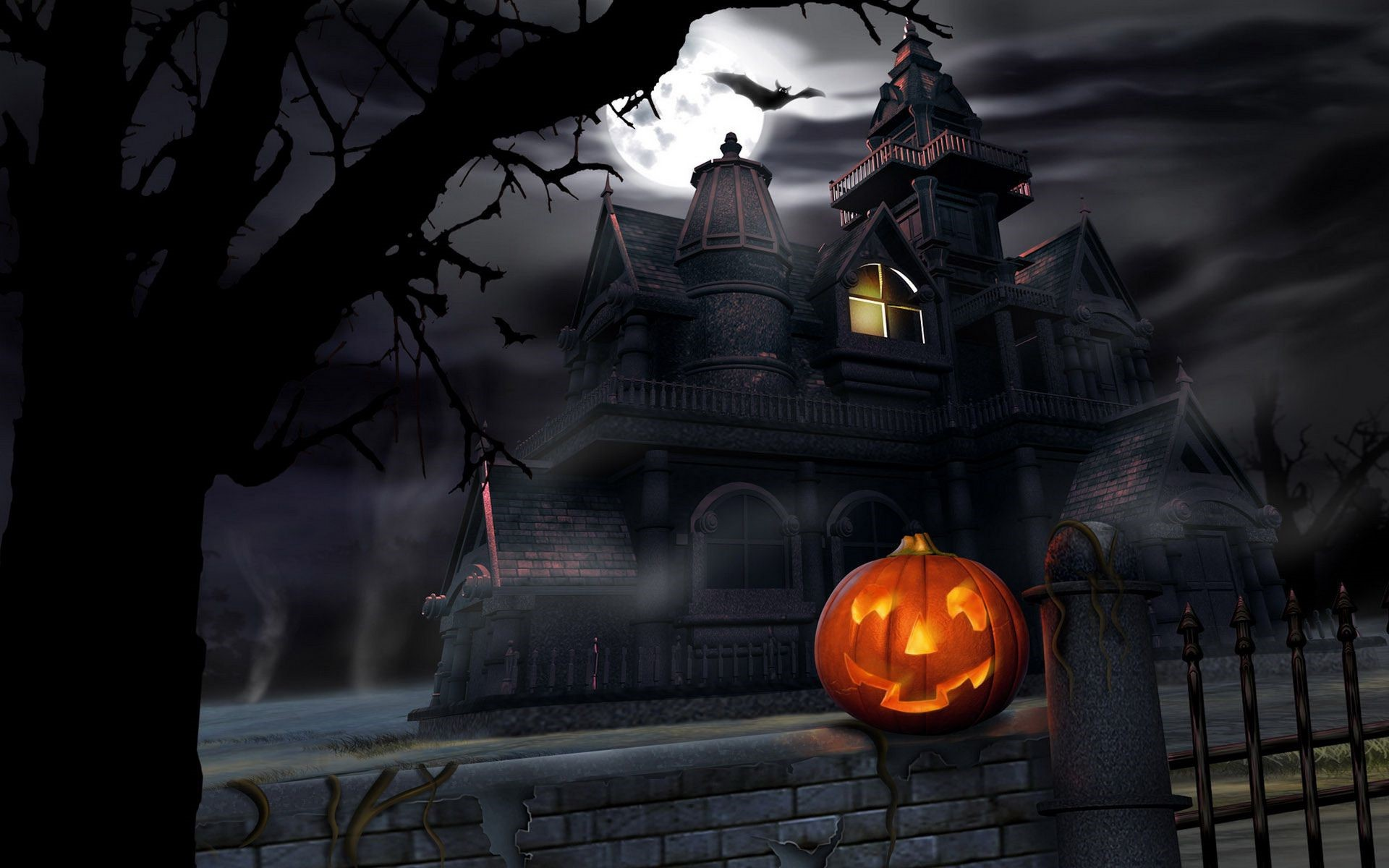 Halloween Haunted House HD Wallpaper