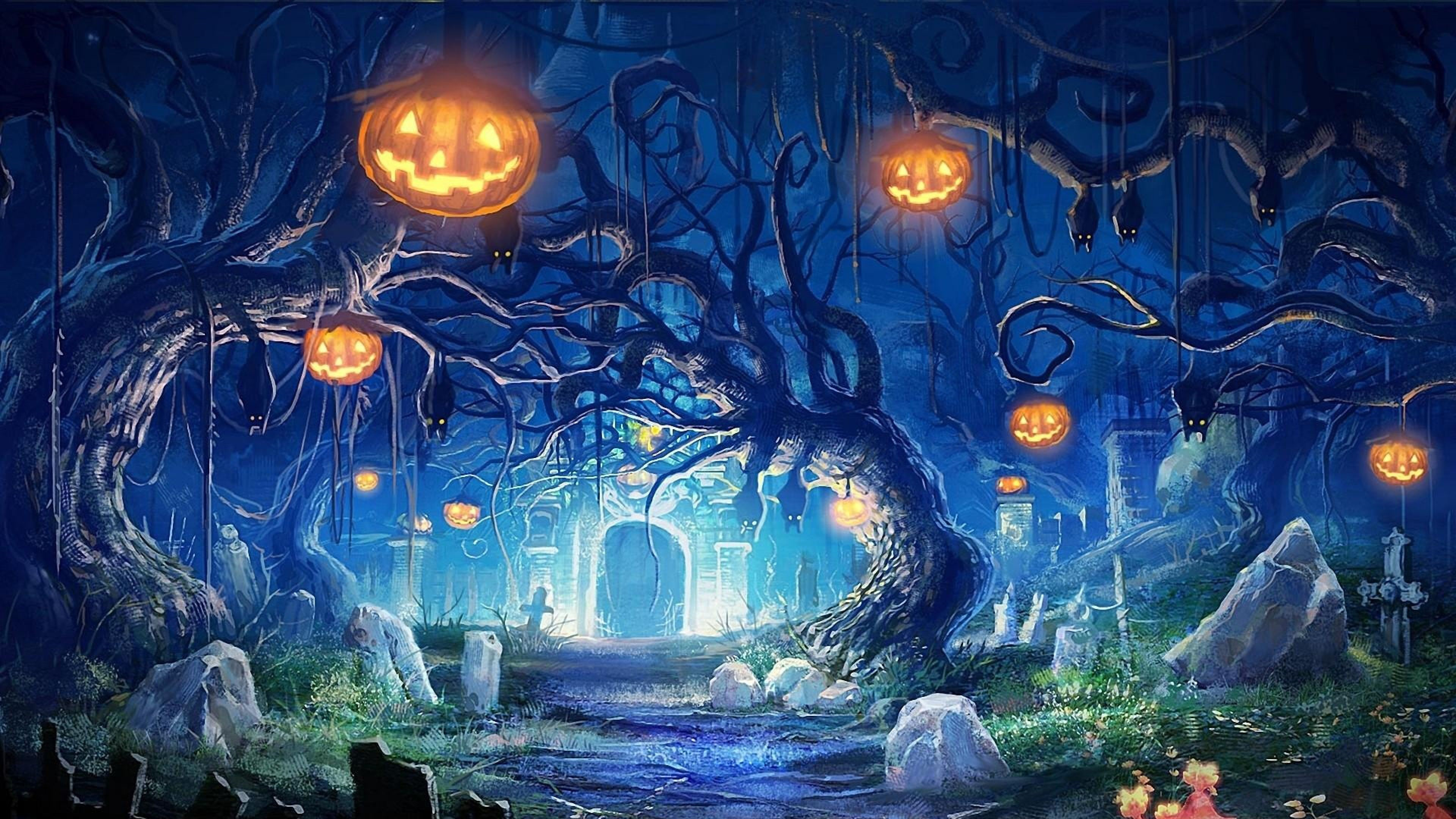 Halloween Light in The Grave Wallpaper