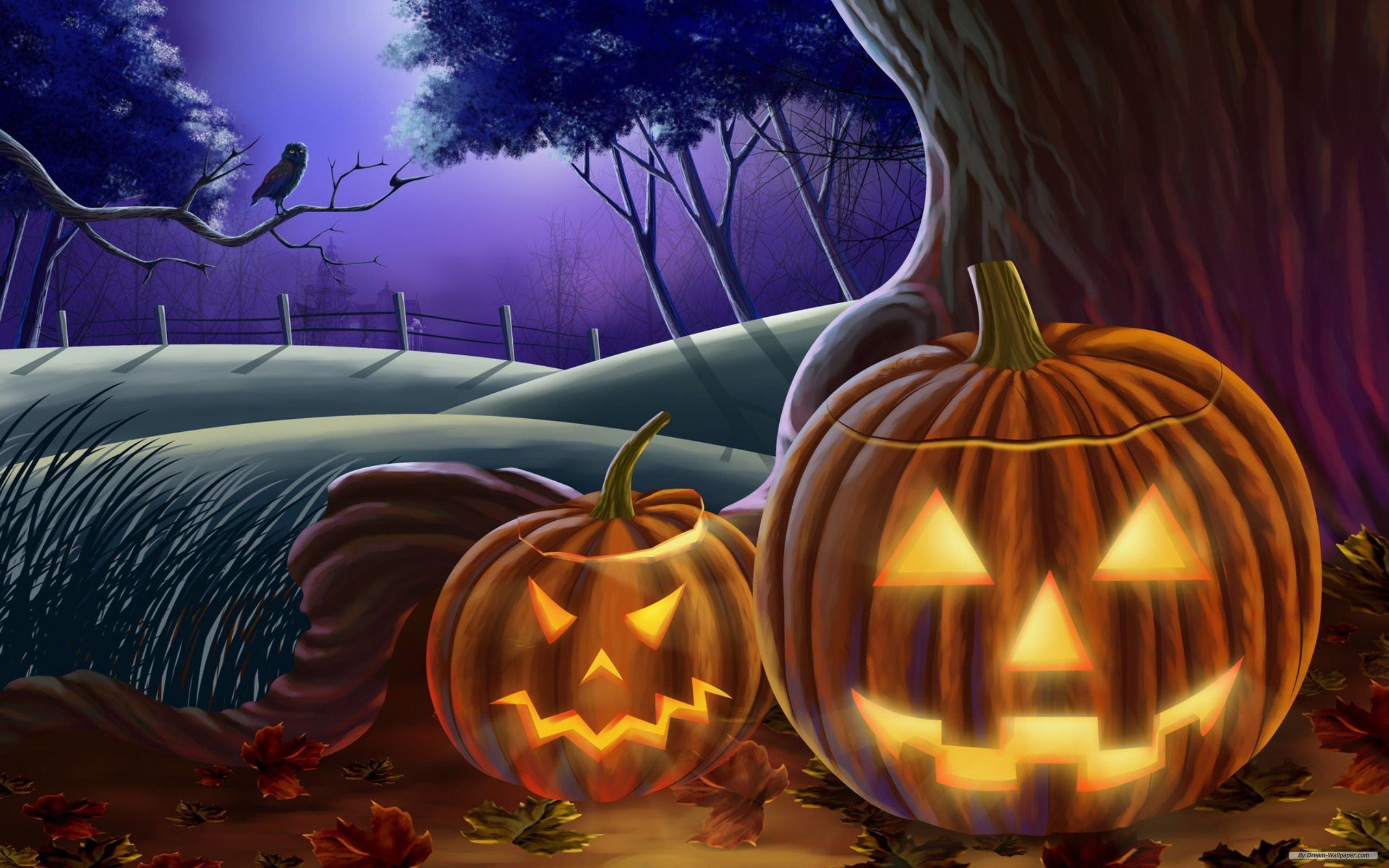 Halloween Owl in The Tree Wallpaper