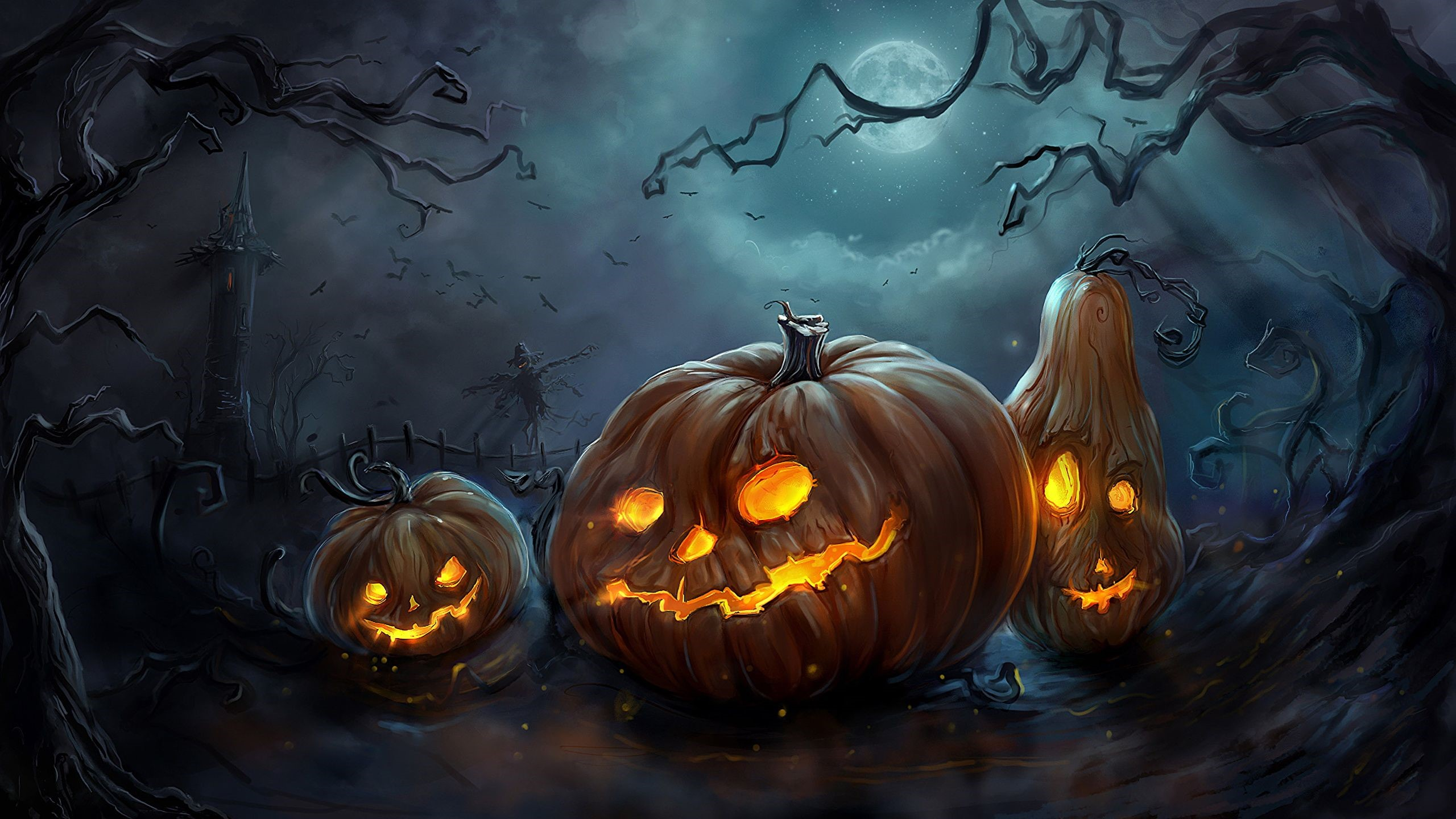 Halloween Pumpkin İllustration Full HD Wallpaper