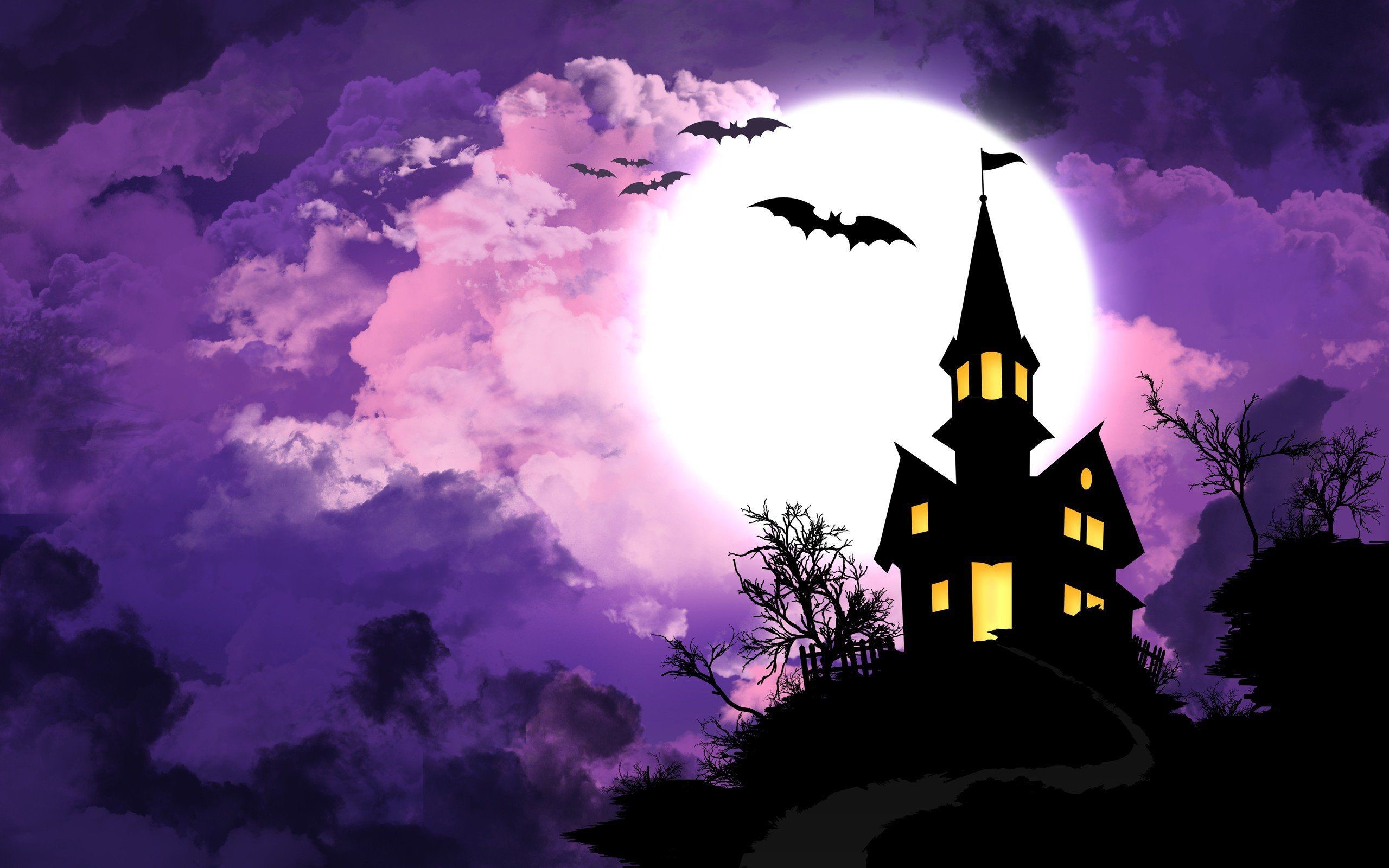 Halloween Scary House in The Moonlight HD Wallpaper