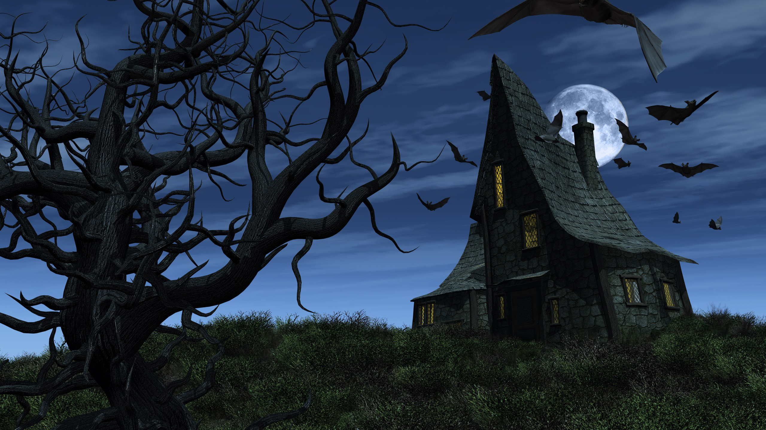 2K Full HD Haunted House 2560x1440 black,blue,green Image