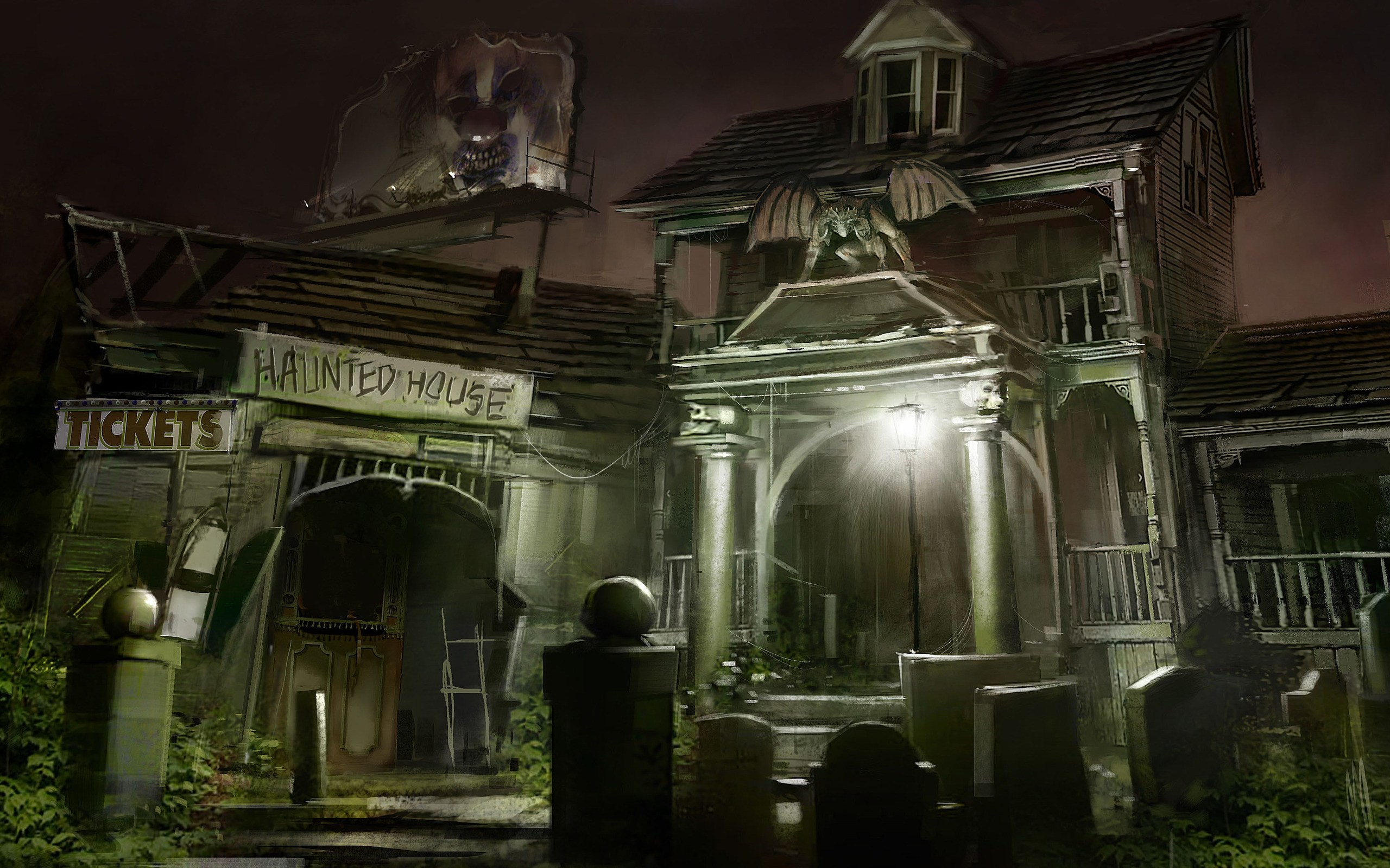 2K Full HD Haunted House 2560x1600 black,green Pictures