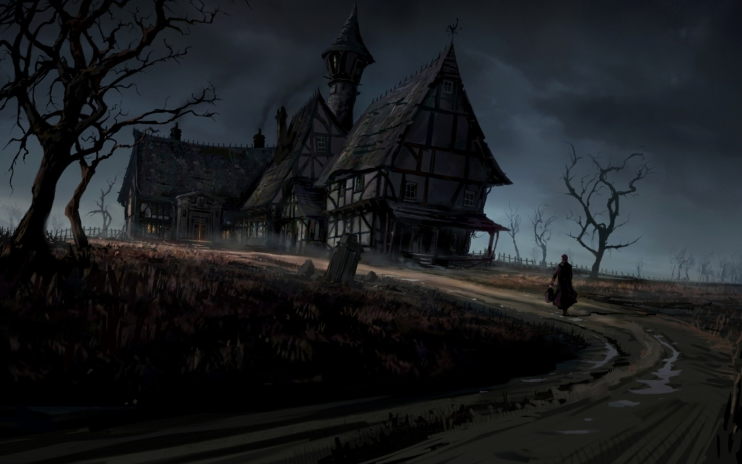 2K Full HD Haunted House 2560x1600 black,green Wallpaper