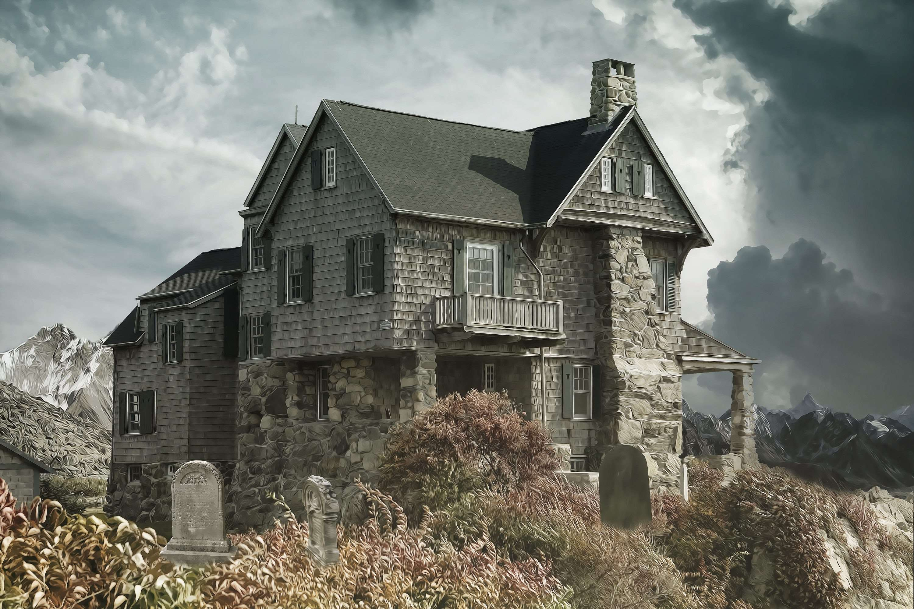 2K Full HD Haunted House 3000x2000 black,green,white,pink Pictures