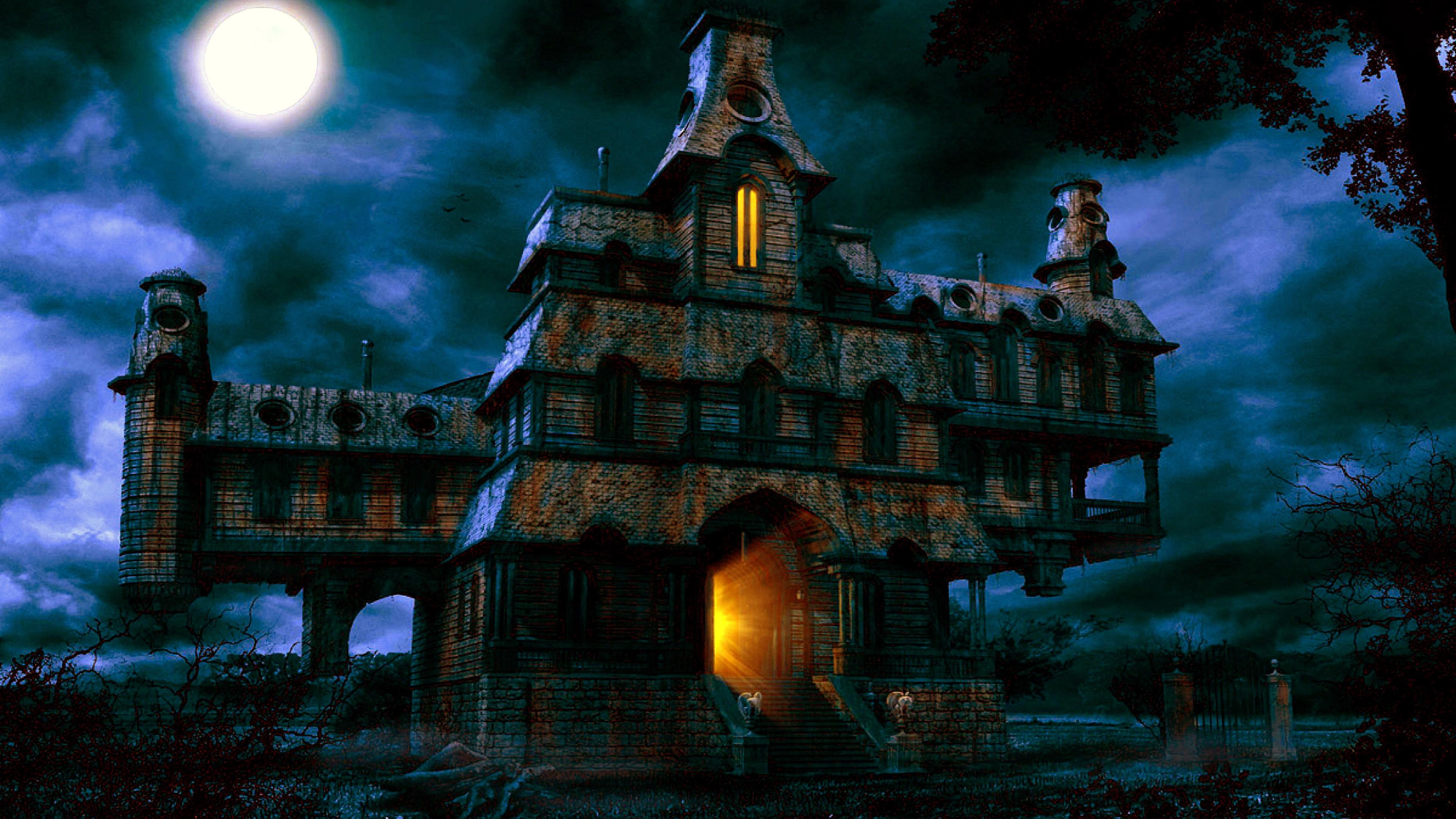 4K Haunted House 3840x2160 black,blue Photos and Wallpapers