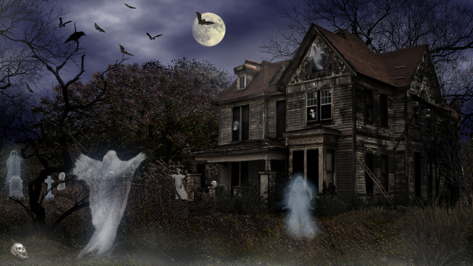Full HD Haunted House 1920x1080 black,green Wallpaper