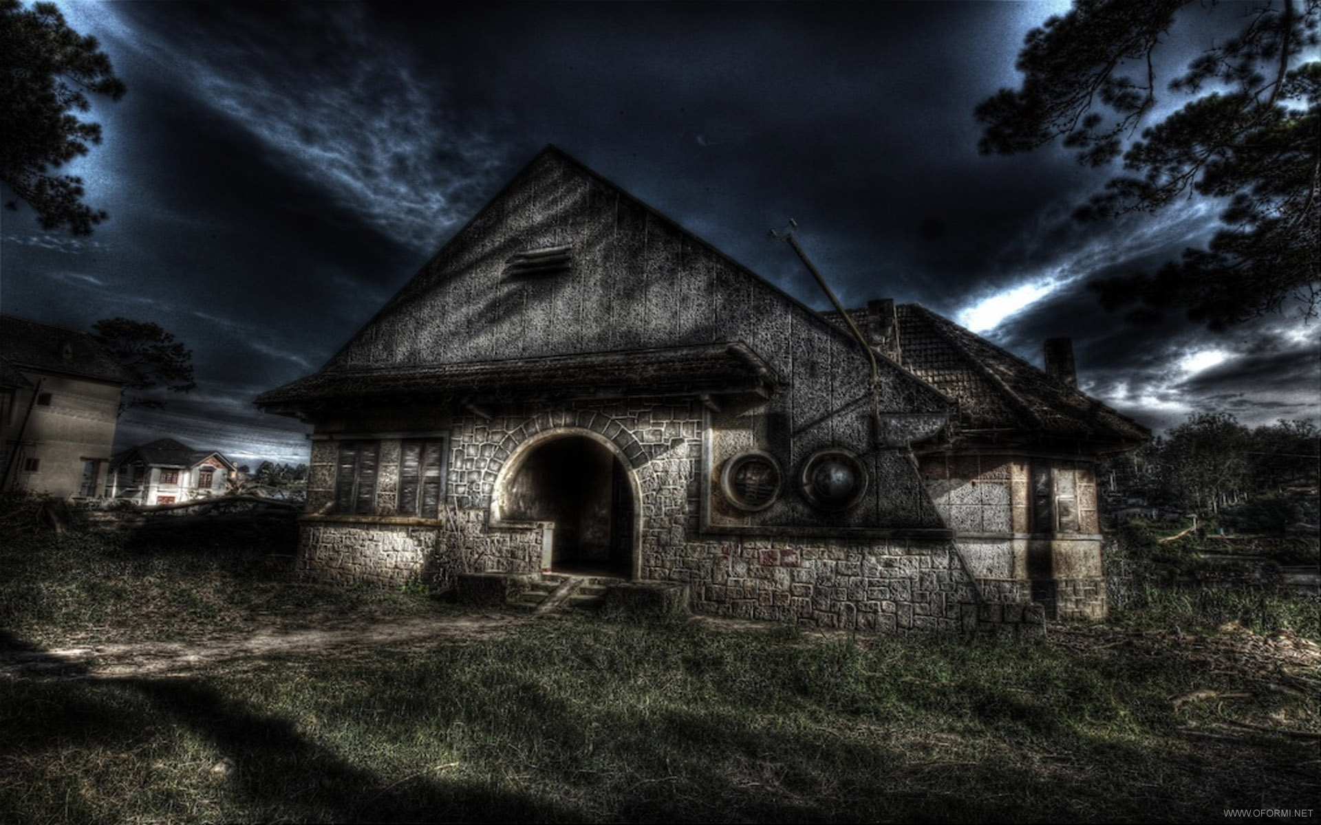 Full HD Haunted House black,green 1920x1200 Wallpaper