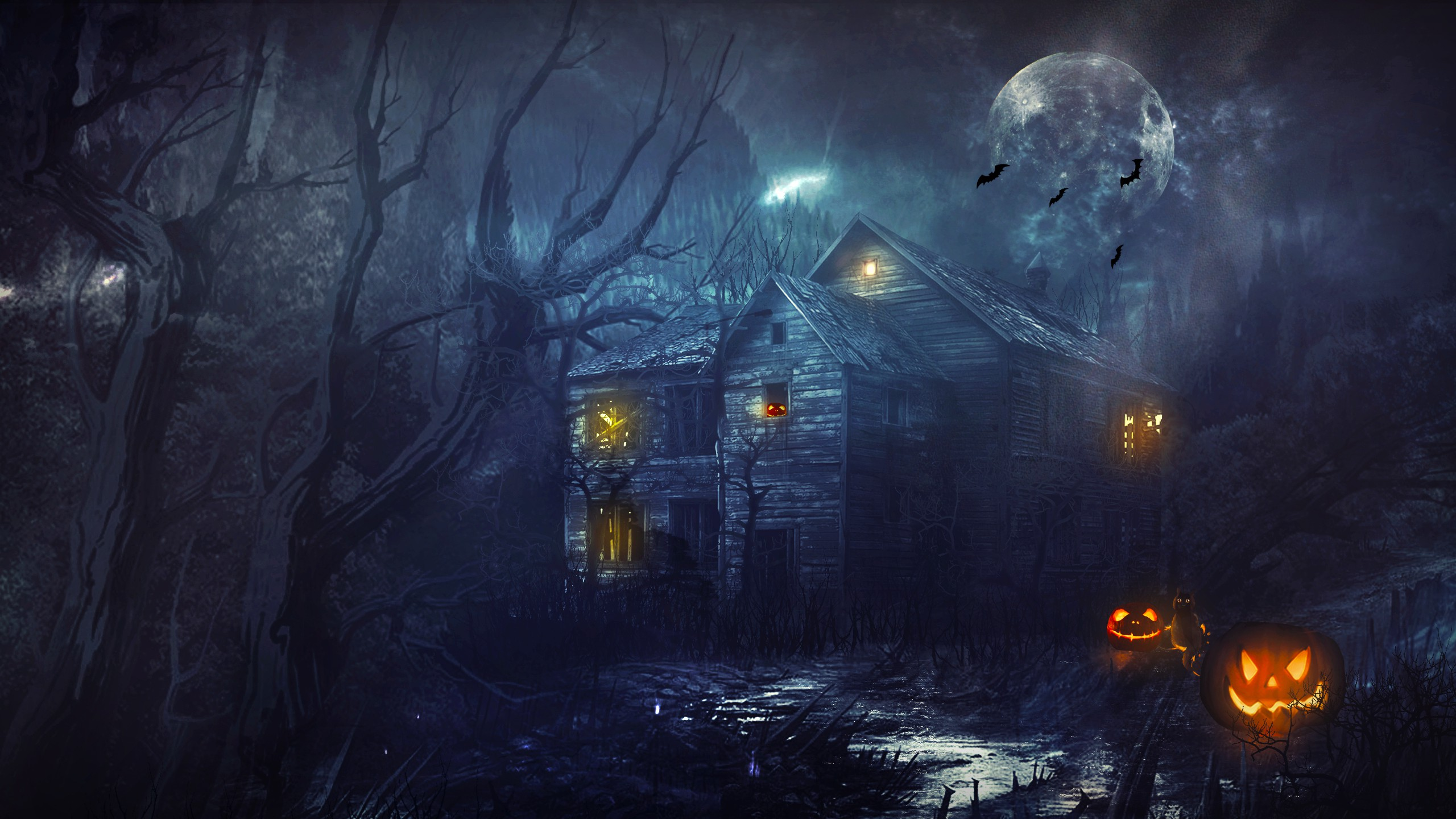 Haunted House 2K Full HD black,green 2560x1440 Backgrounds
