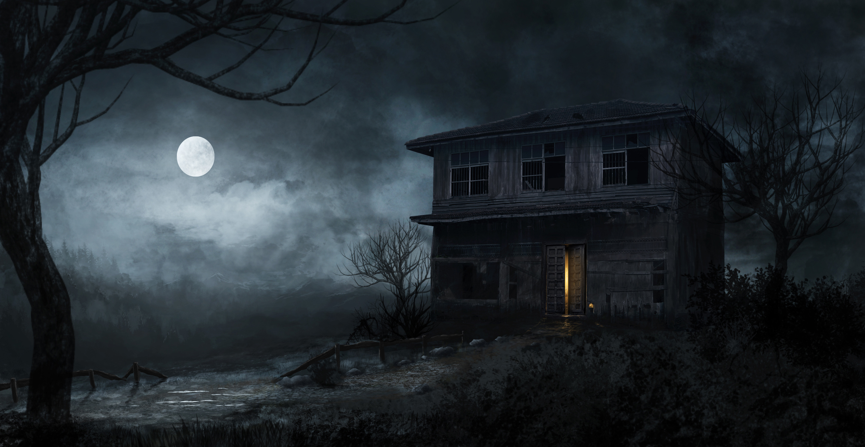 Haunted House 2K Full HD black,green 2900x1500 Image
