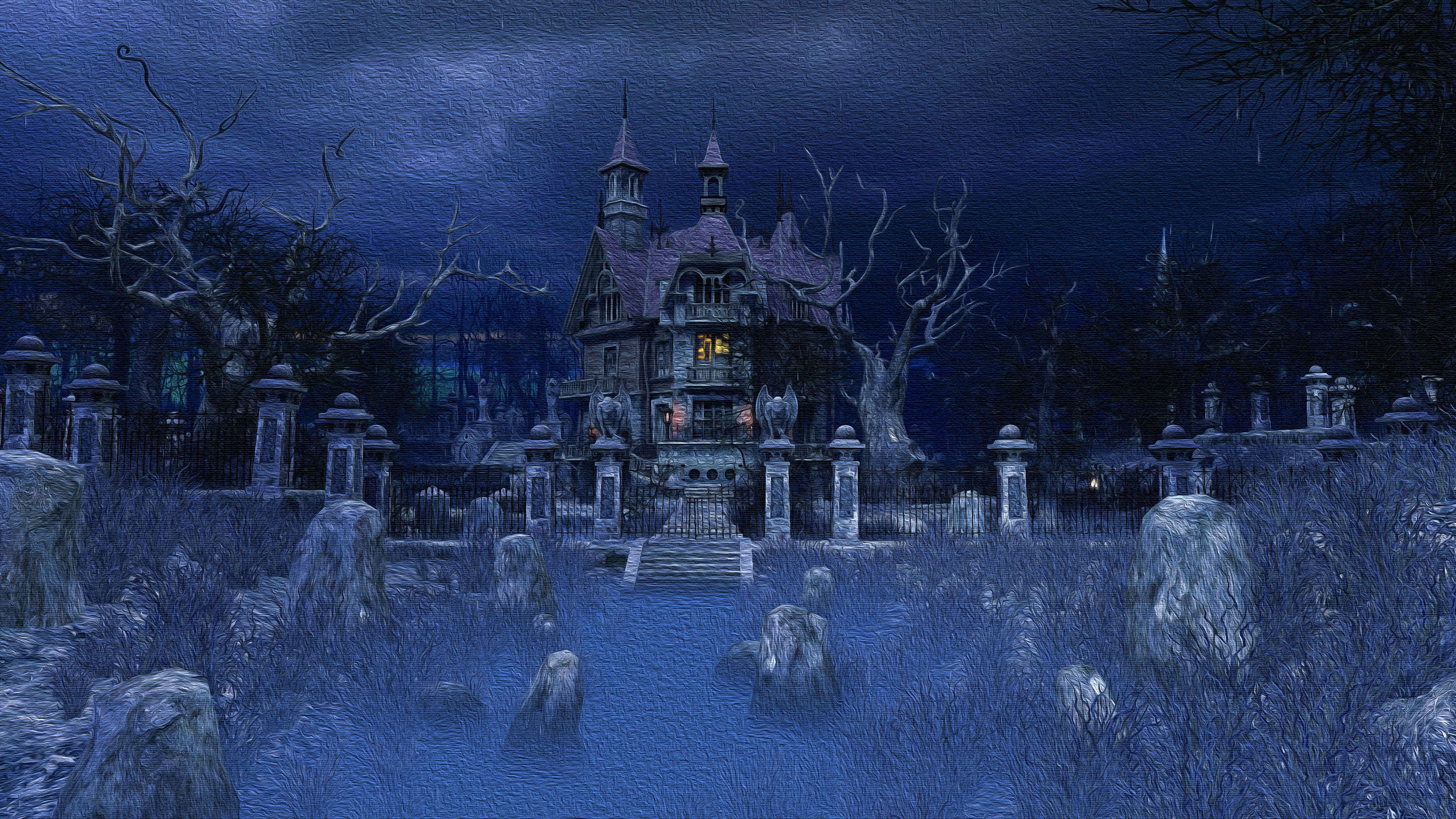 Haunted House 4K black,blue 3840x2160 Desktop and ...