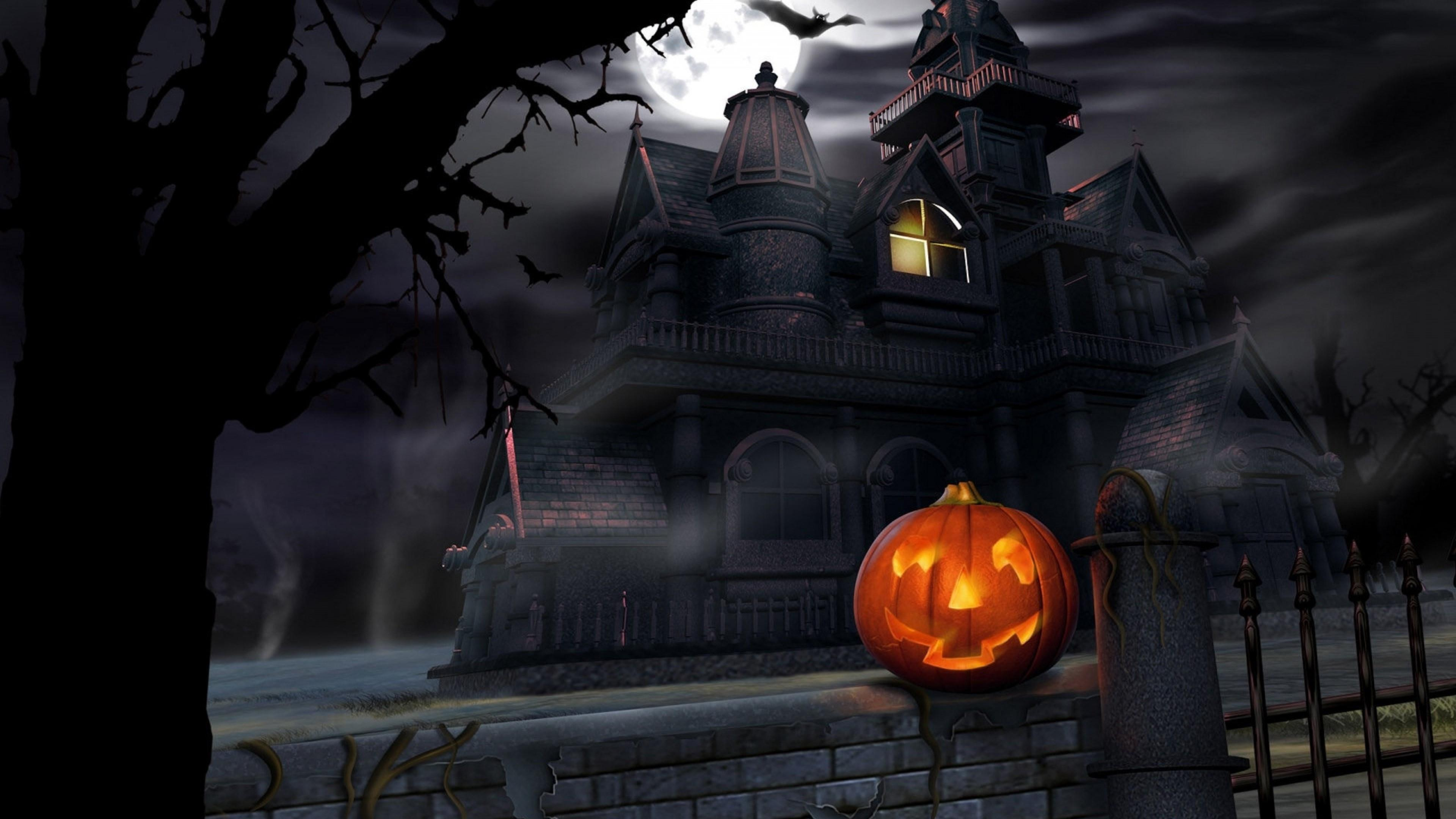 Haunted House 4K black,green 3840x2160 Background Image