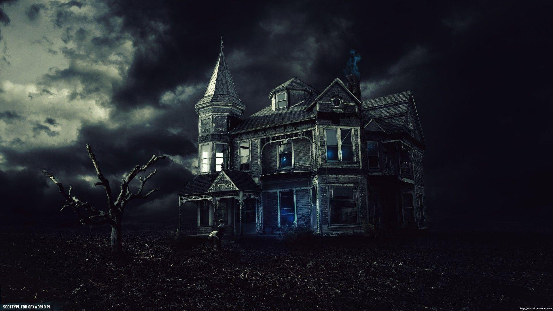 Haunted House Full HD 1920x1080 black,green,pink Photos
