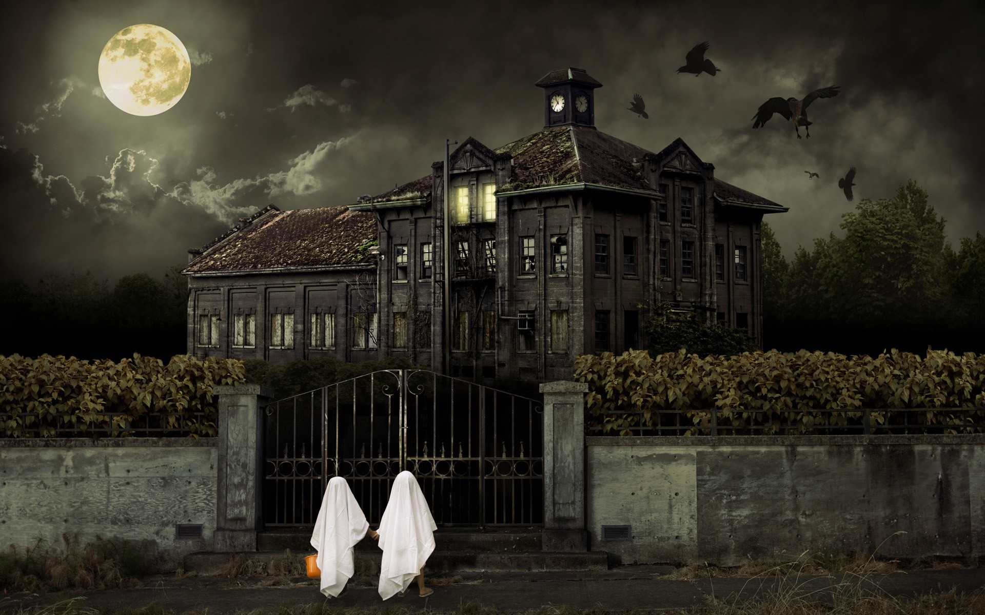 Haunted House Full HD 1920x1200 black,green Wallpaper