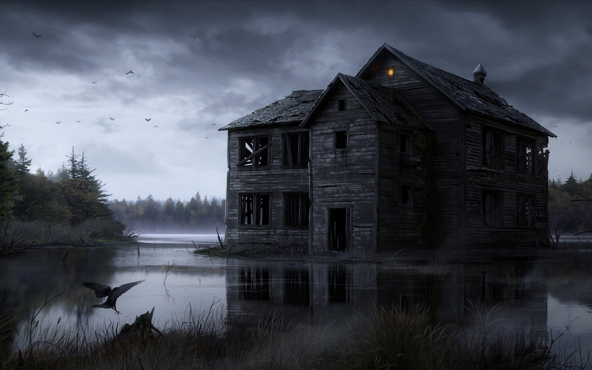Haunted House Full HD 1920x1200 black,green,white Photos and Wallpapers