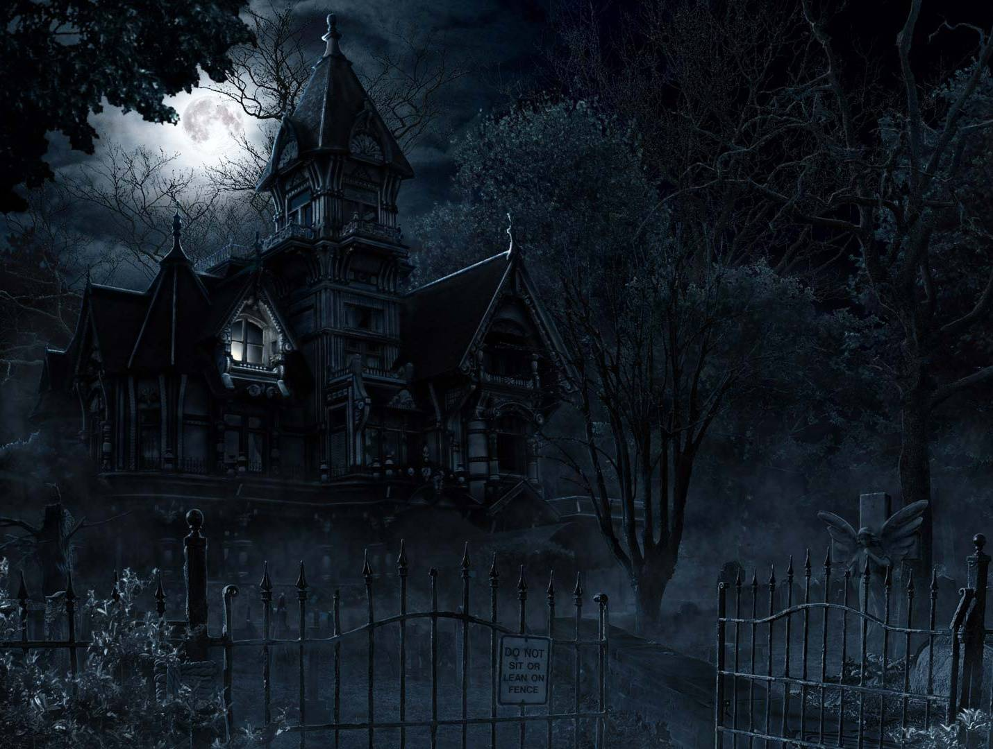 Haunted House HD 1430x1080 black,green Backgrounds