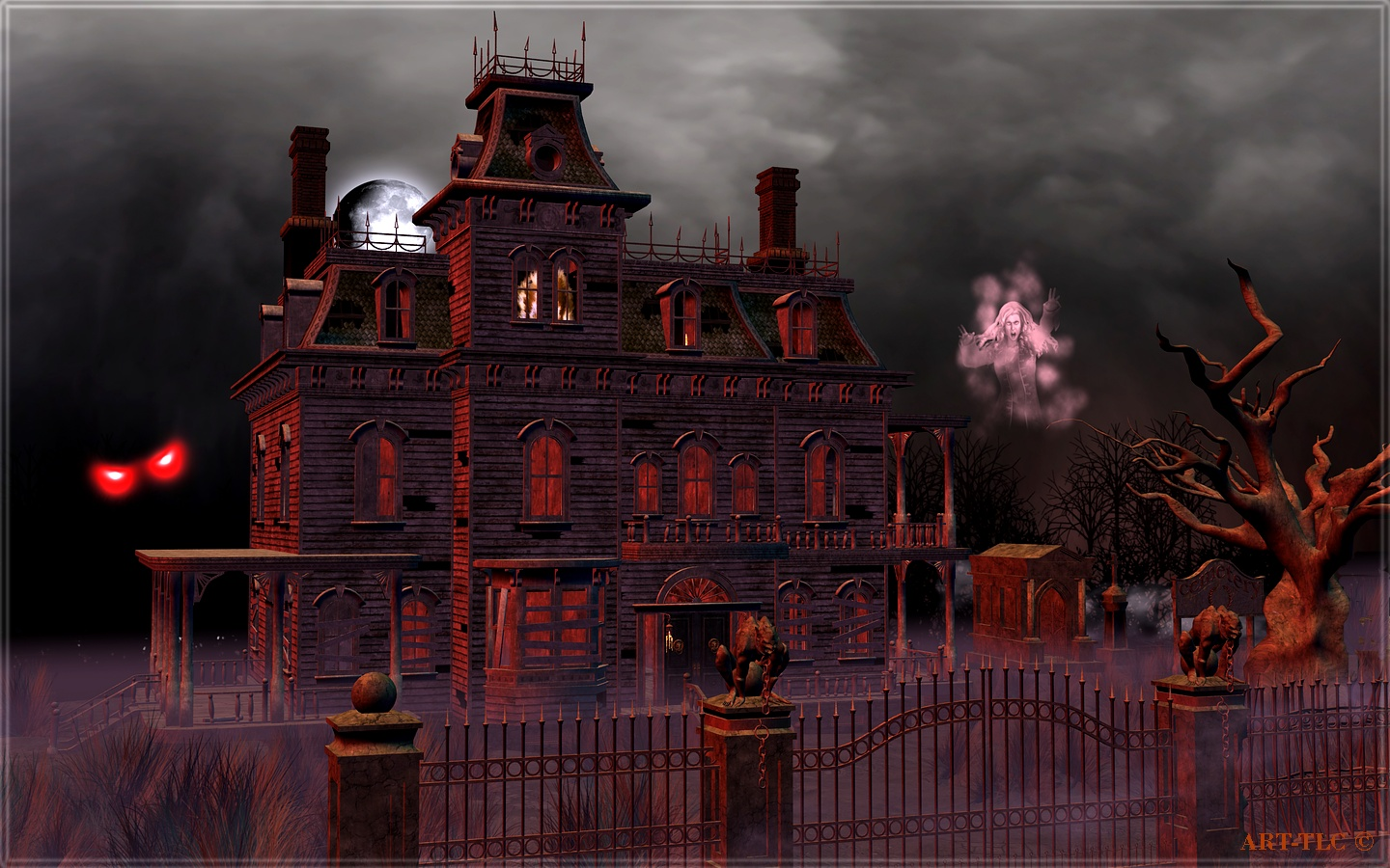 Haunted House HD 1440x900 black,green,brown Pictures