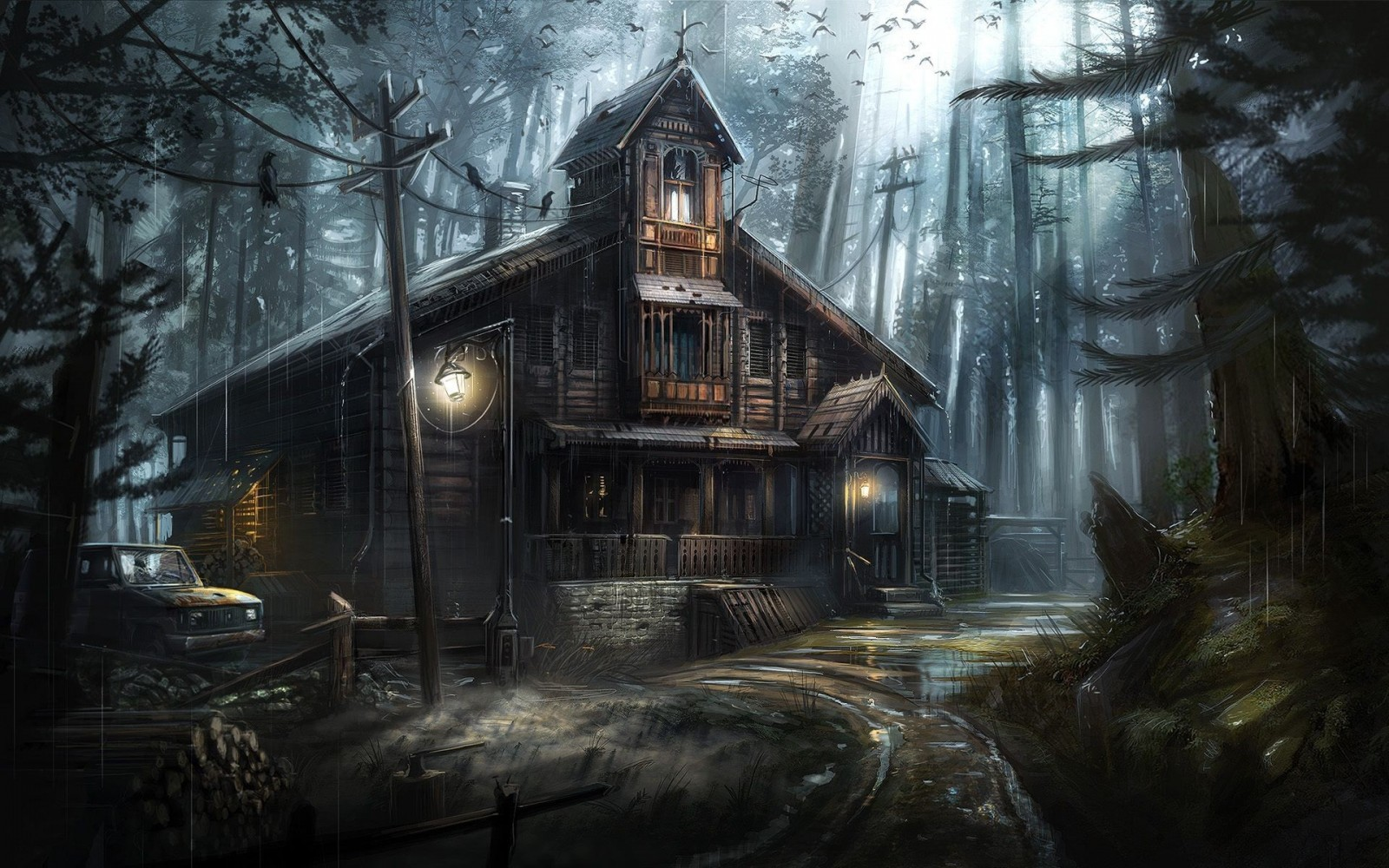 Haunted House HD black,green 1600x1000 Wallpaper