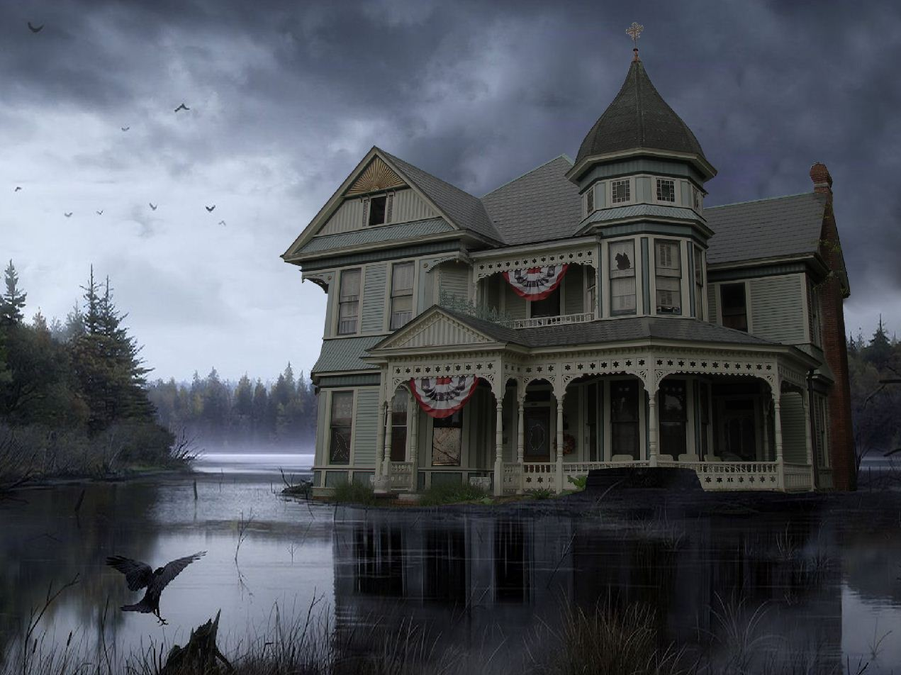 HD Haunted House 1271x952 black,green,white Photos