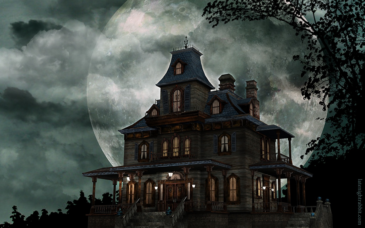 HD Haunted House 1280x800 black,green,pink Pictures