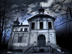 HD Haunted House 1500x765 black,green,purple Image