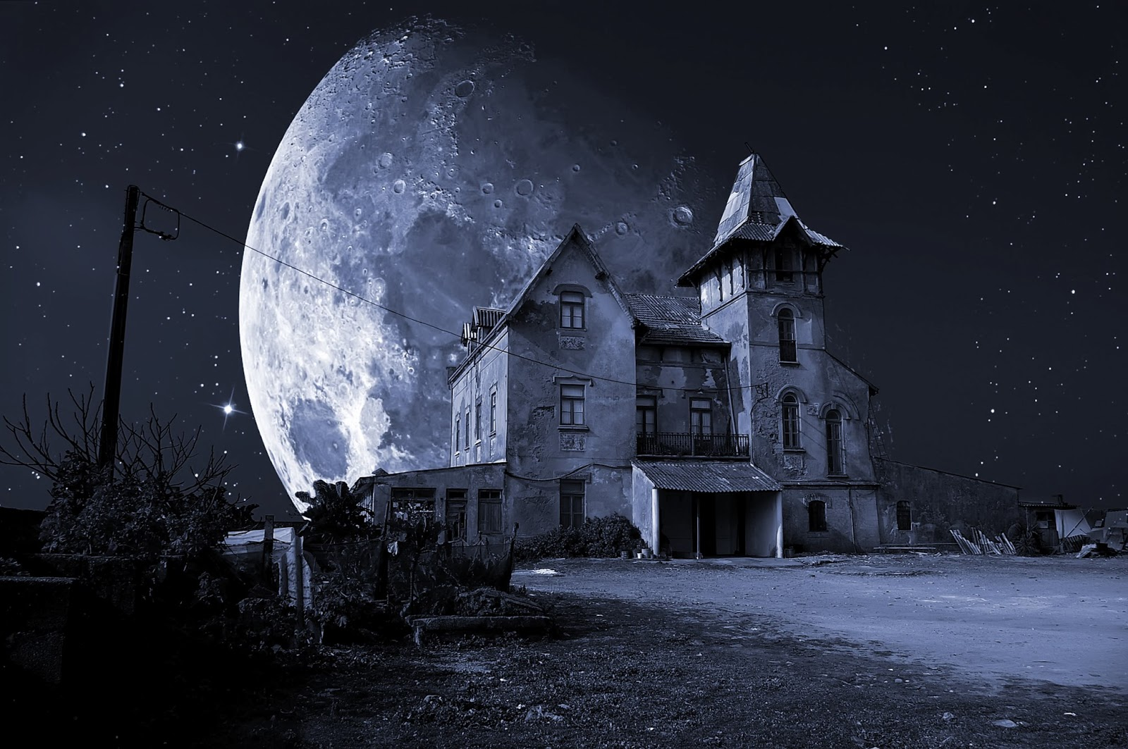 HD Haunted House 1600x1063 black,purple Background Image