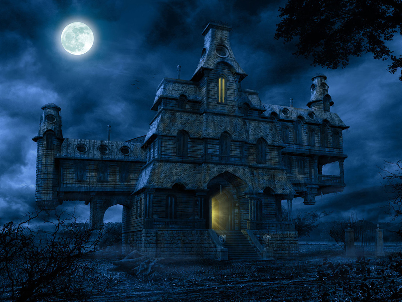 HD Haunted House 1600x1200 black,blue Background Image