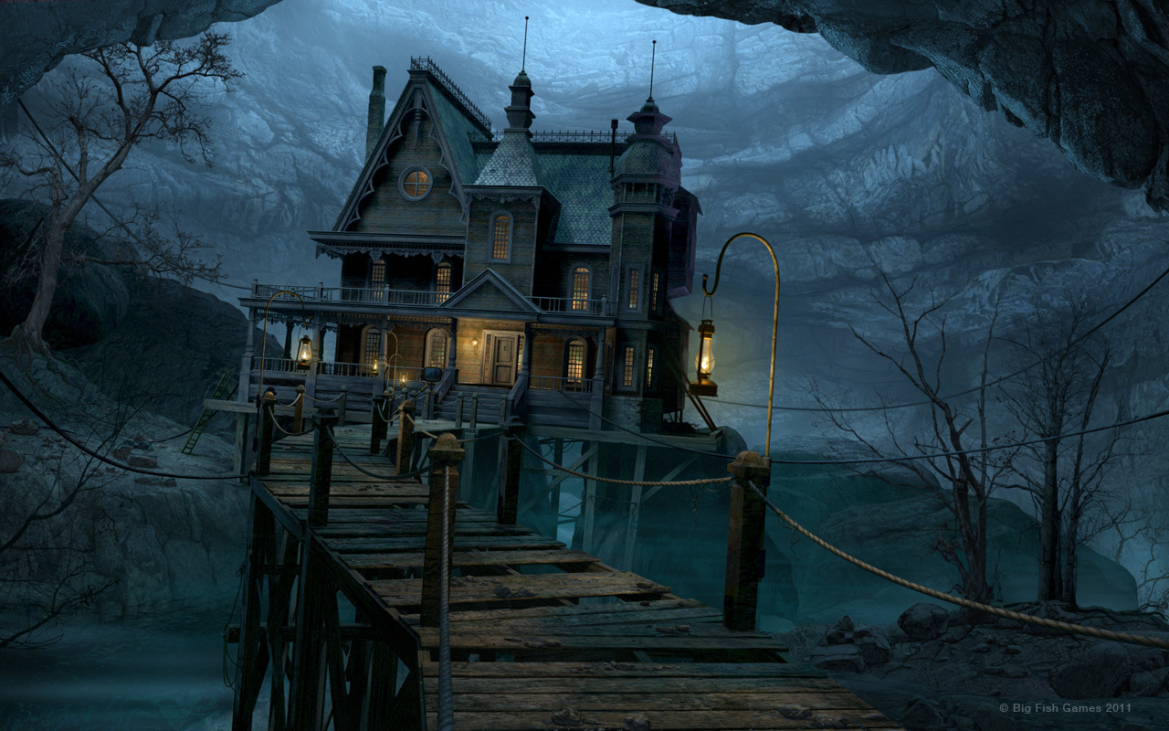 HD Haunted House black,green 1280x800 Wallpaper