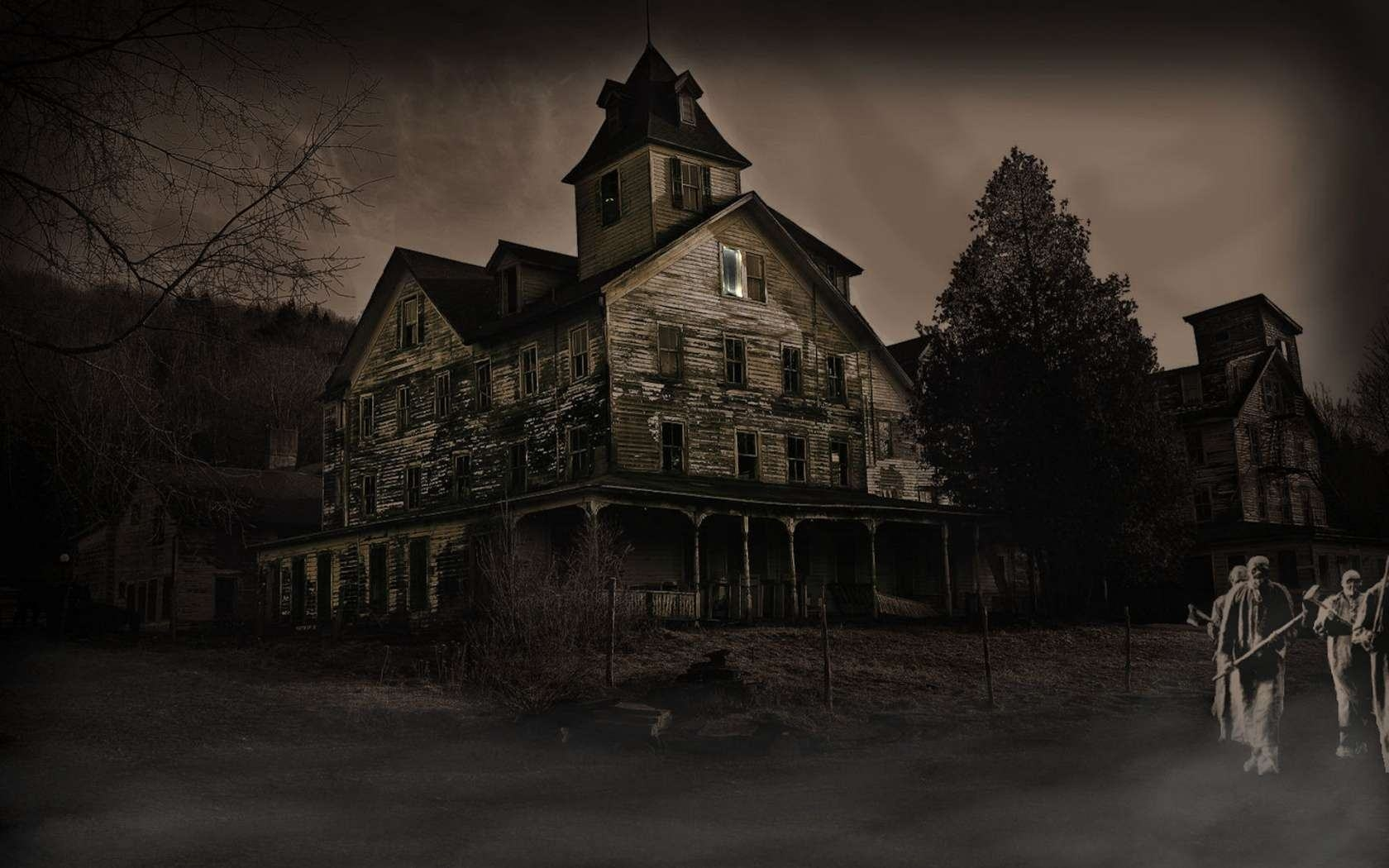 HD Haunted House black,green 1680x1050 Image